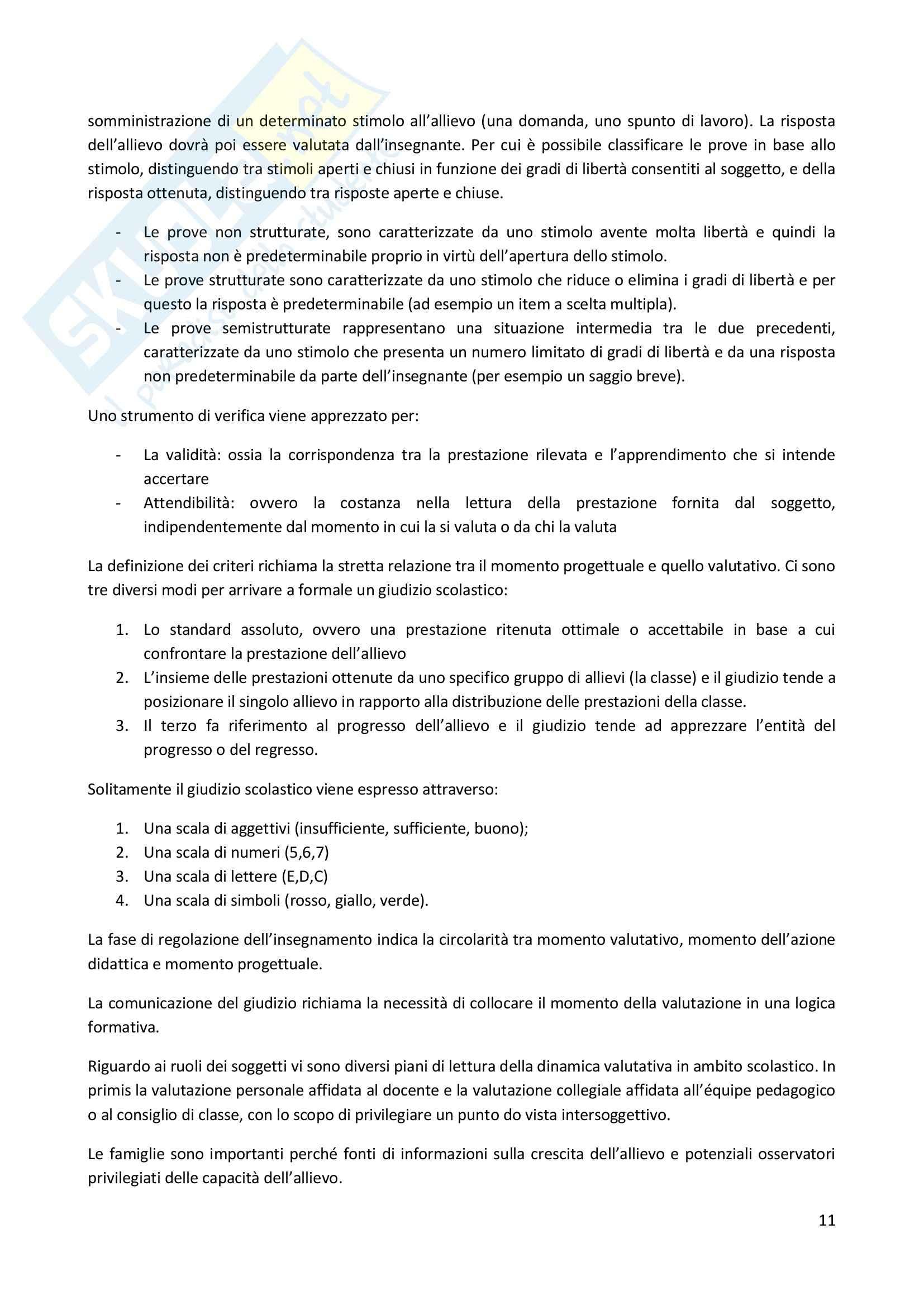 Riassunto esame Didattica Generale, prof. Milito, libro consigliato Didattica Generale, Castoldi Pag. 11