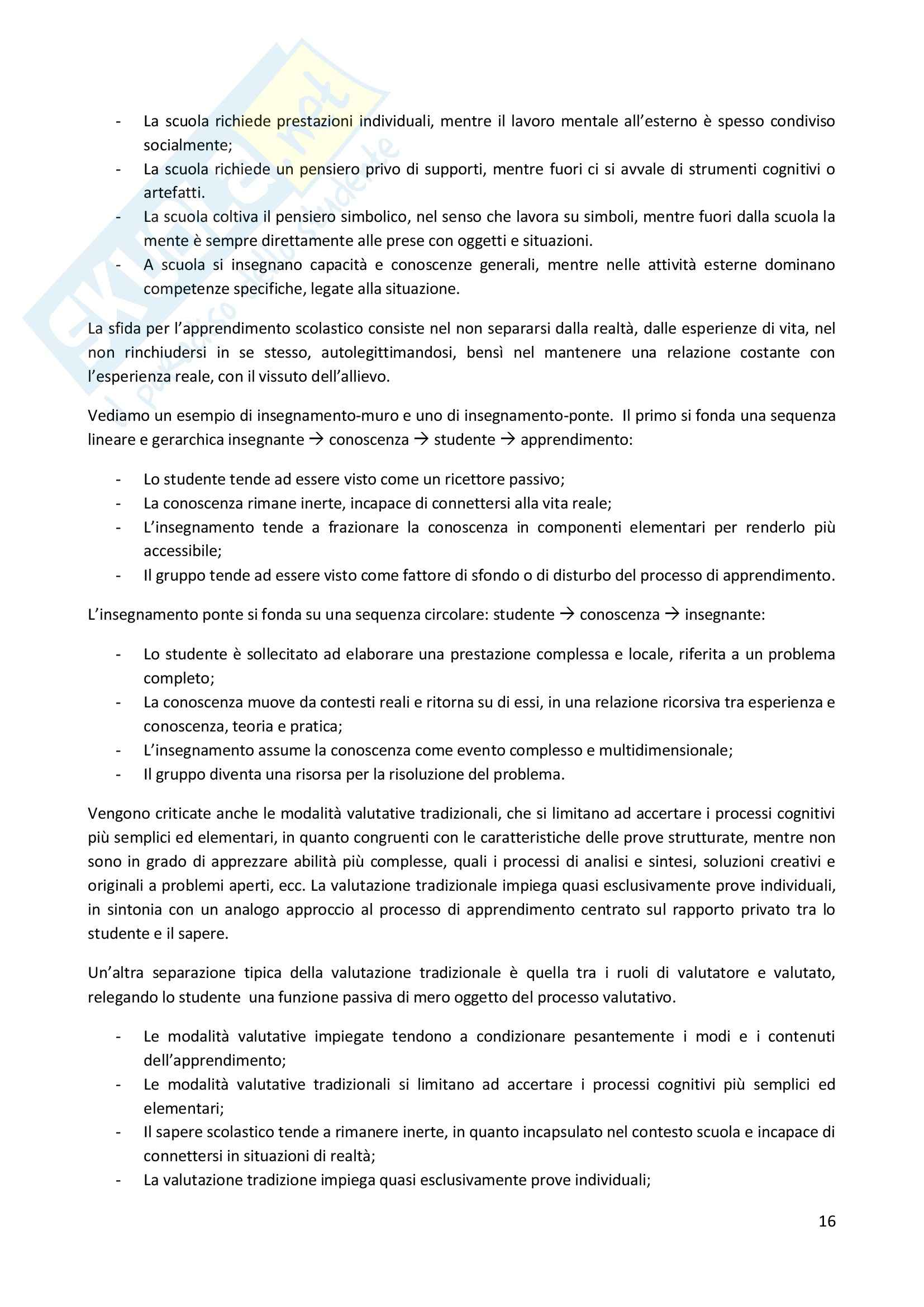 Riassunto esame Didattica Generale, prof. Milito, libro consigliato Didattica Generale, Castoldi Pag. 16