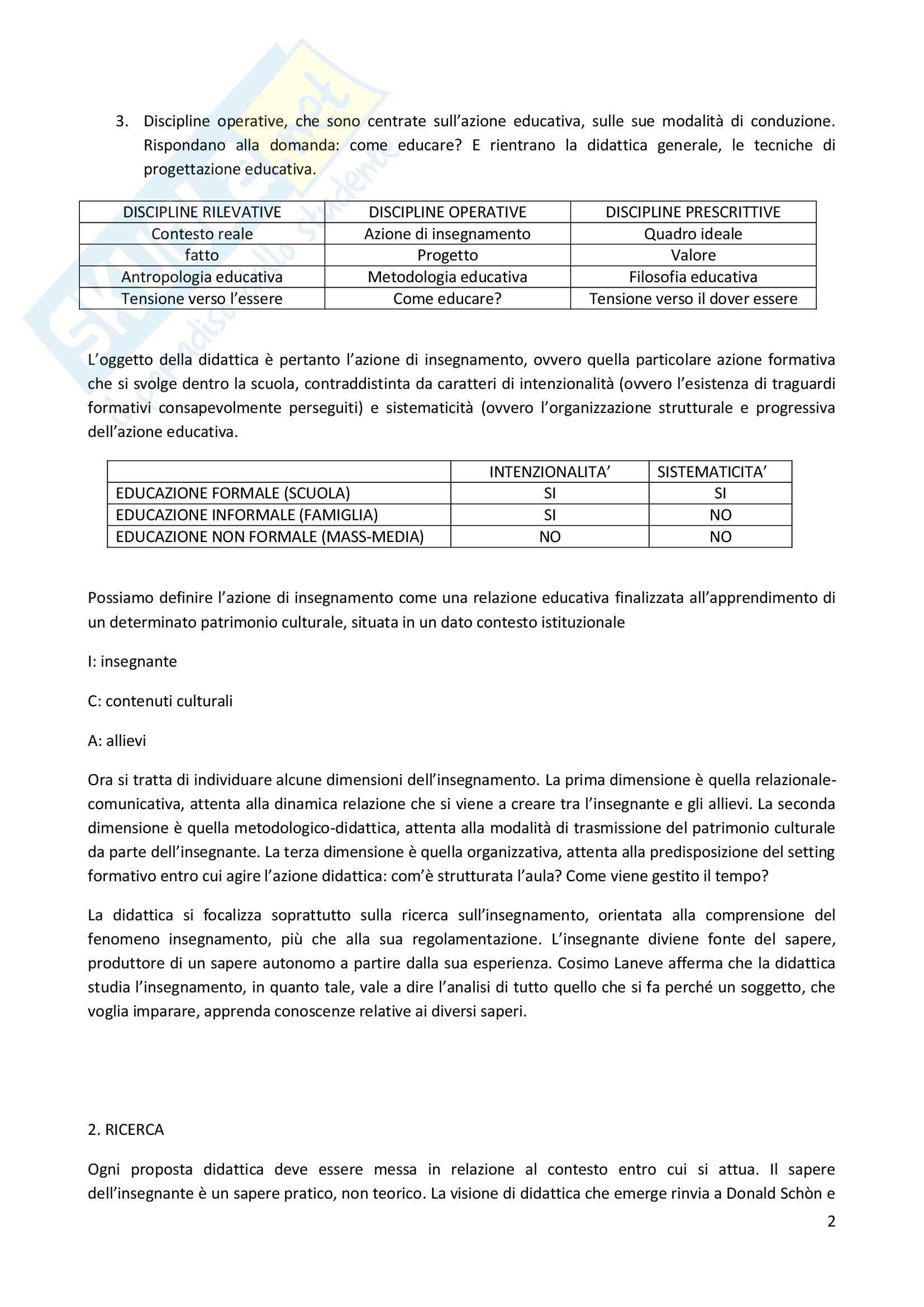 Riassunto esame Didattica Generale, prof. Milito, libro consigliato Didattica Generale, Castoldi Pag. 2