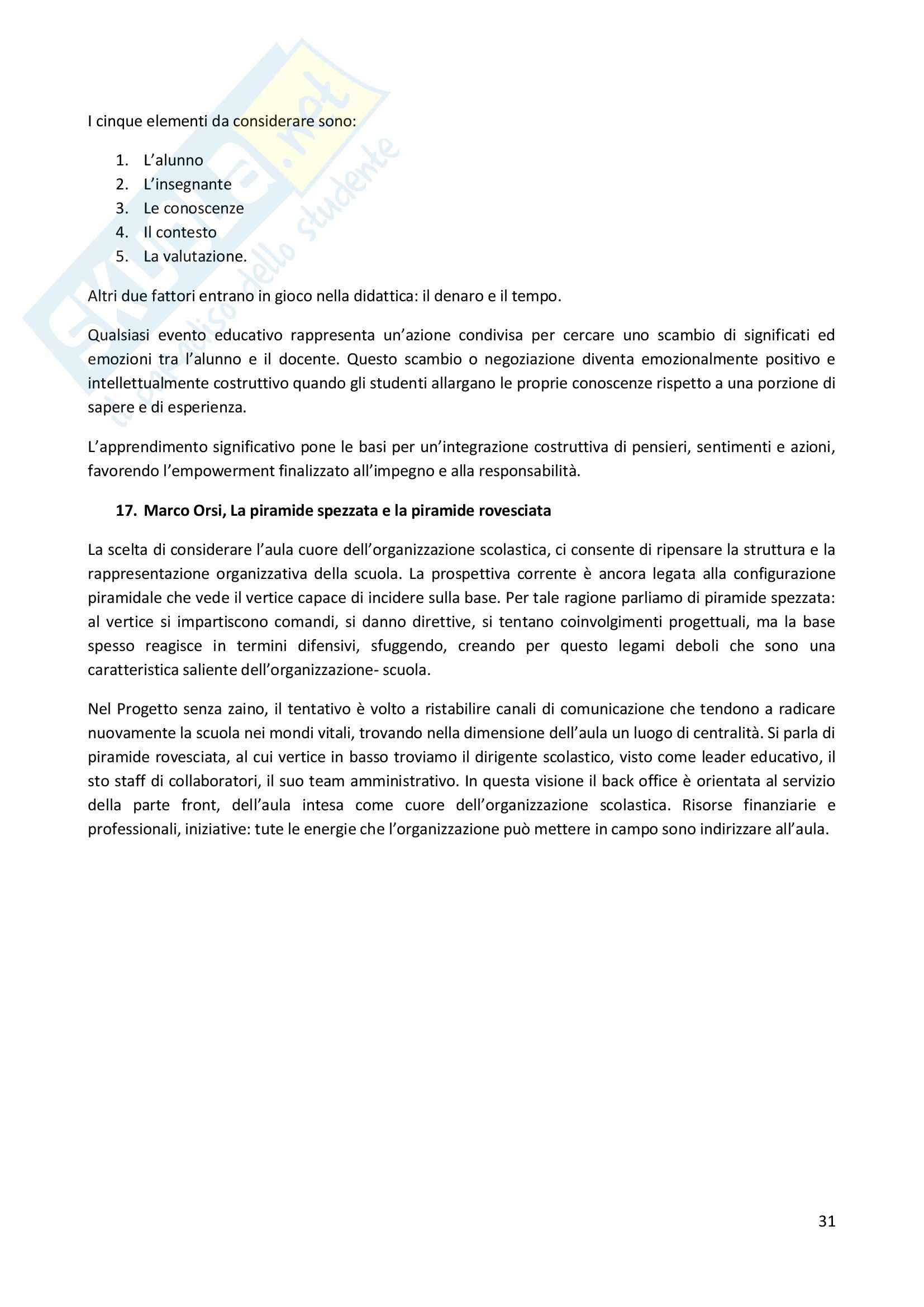 Riassunto esame Didattica Generale, prof. Milito, libro consigliato Didattica Generale, Castoldi Pag. 31