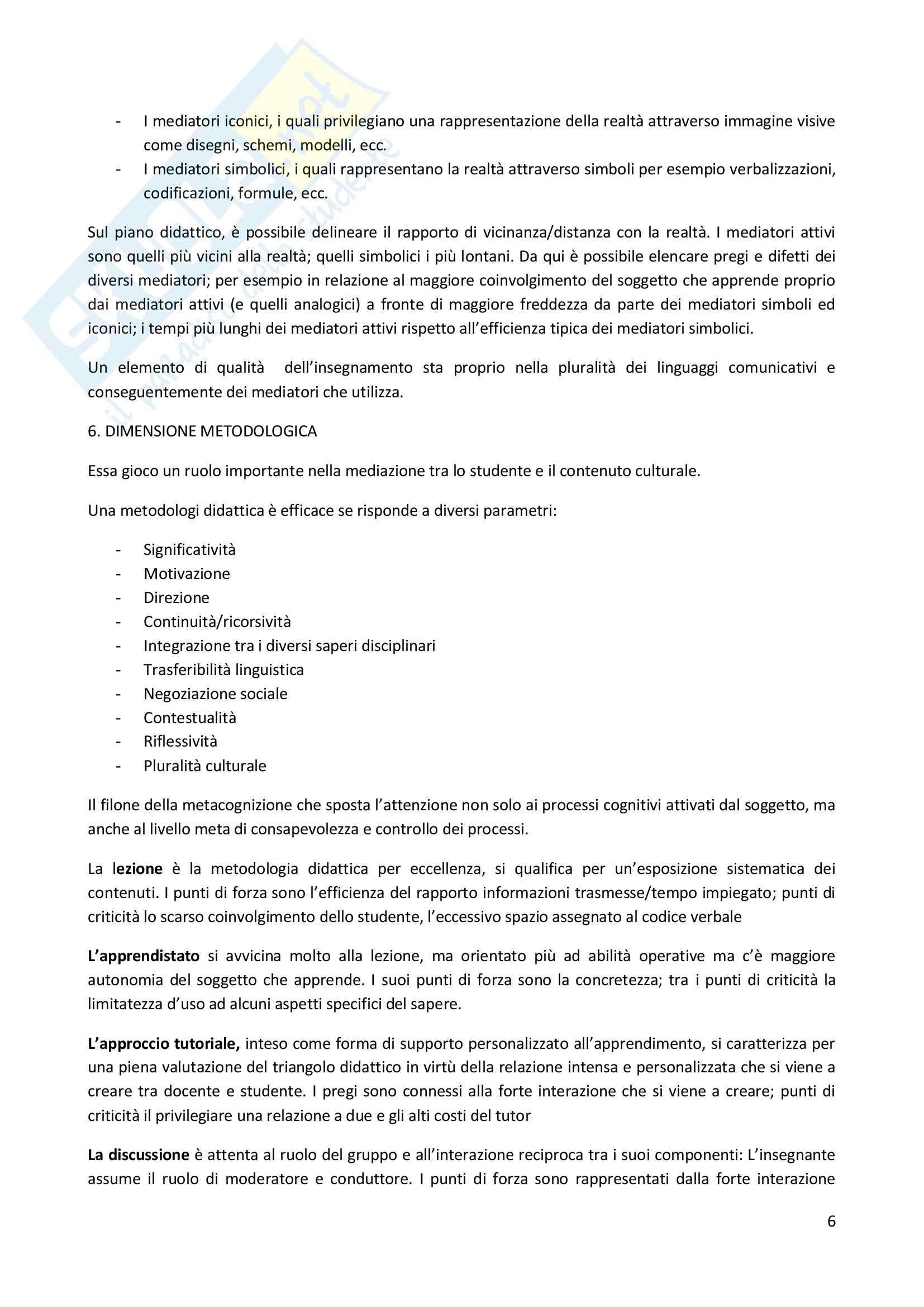Riassunto esame Didattica Generale, prof. Milito, libro consigliato Didattica Generale, Castoldi Pag. 6