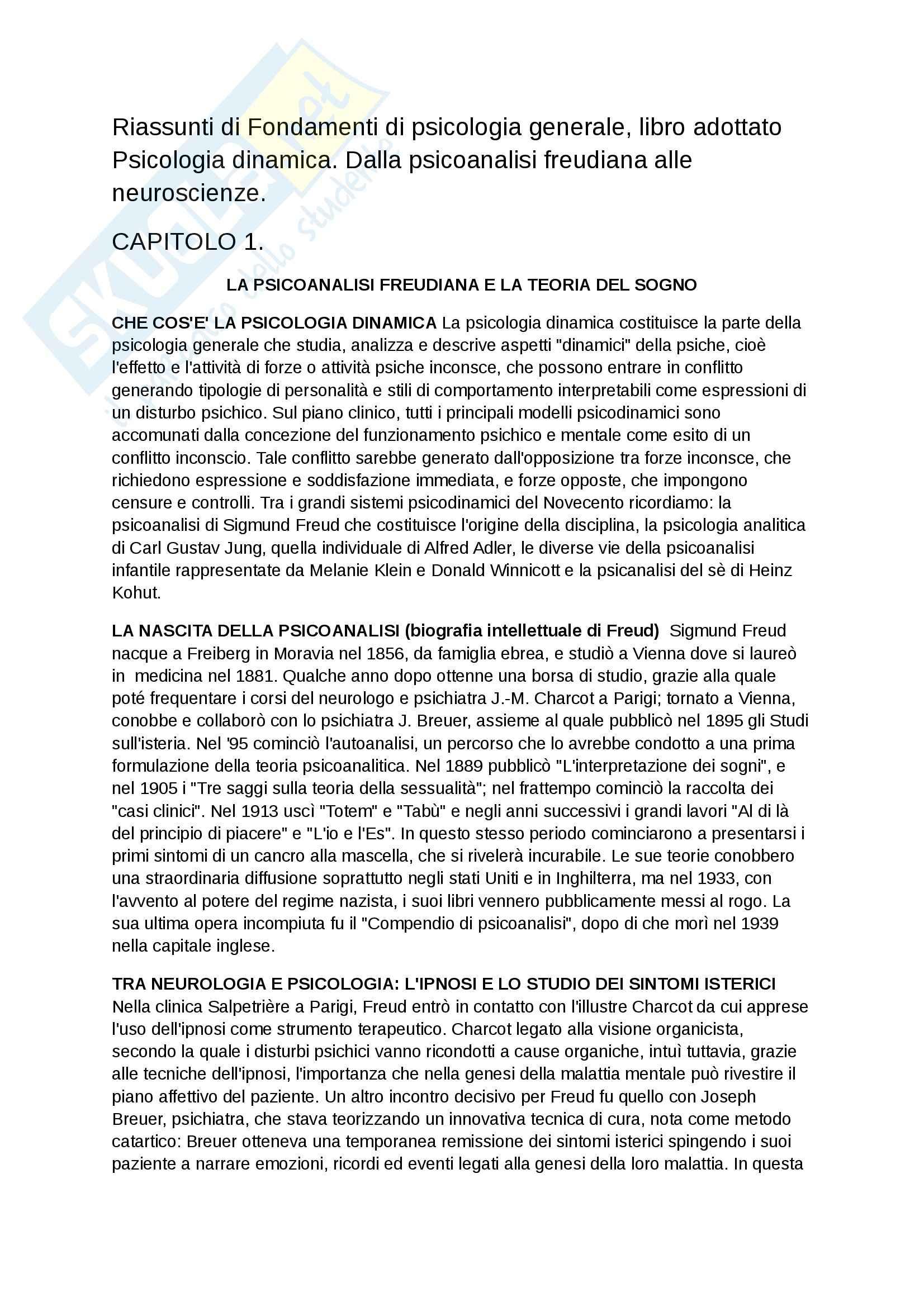 Riassunto esame Fondamenti di psicologia generale, prof. Velardi, libro consigliato Psicologia dinamica. Dalla psicoanalisi freudiana alle neuroscienze