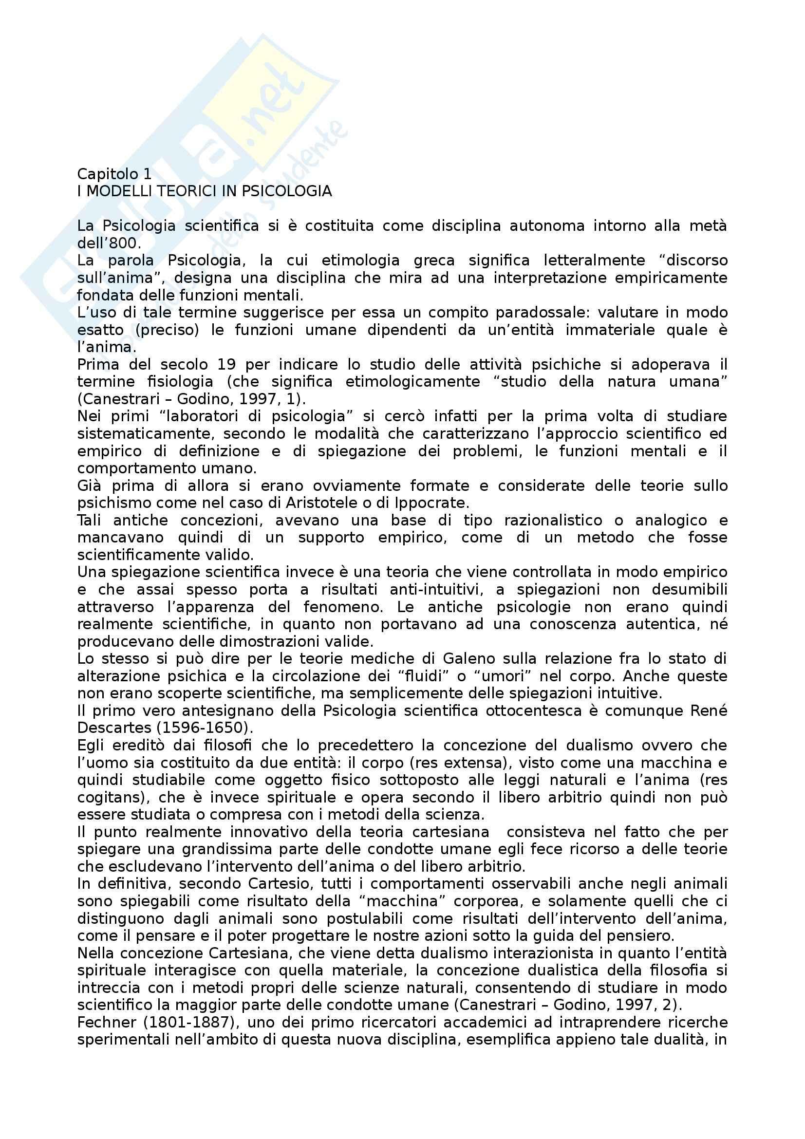 Riassunto esame Psicologia Generale, prof. Miceli, libro consigliato Trattato di Psicologia, Canestrari, Godino