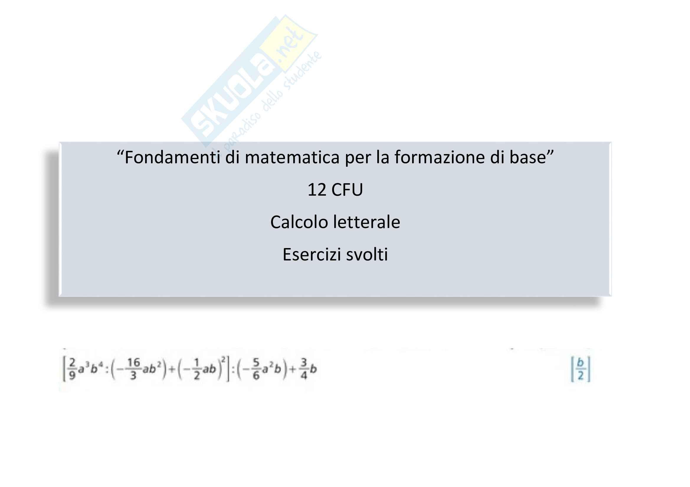 Calcolo letterale: espressioni algebriche