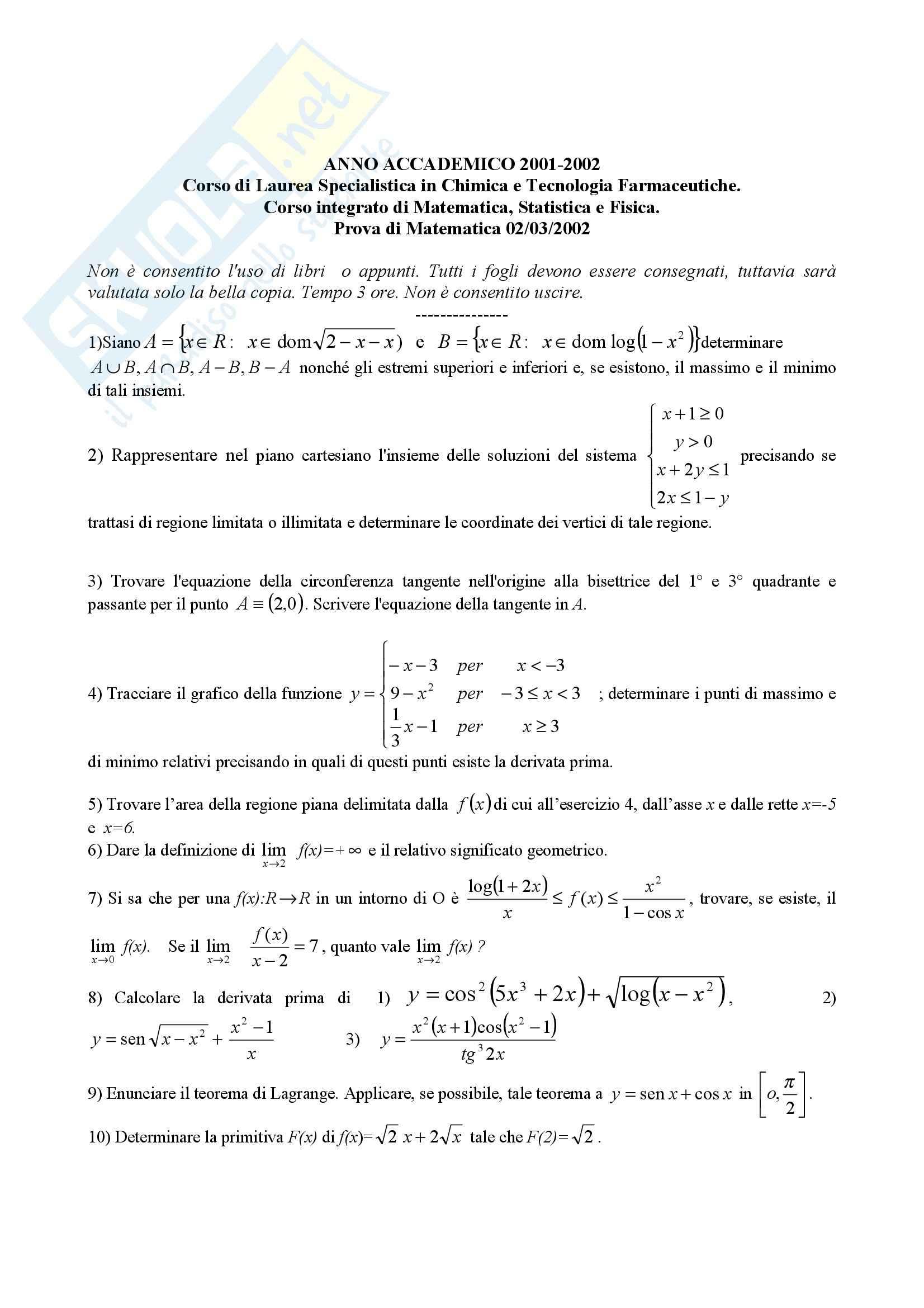 Matematica - Esercizi esame