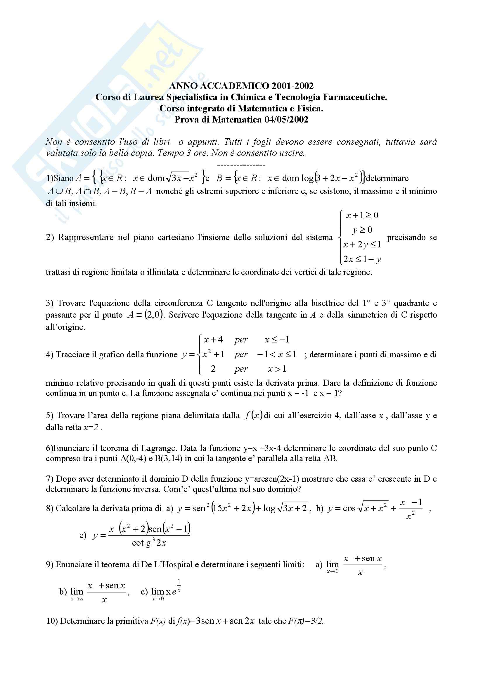 Matematica - Esercizi esame Pag. 2