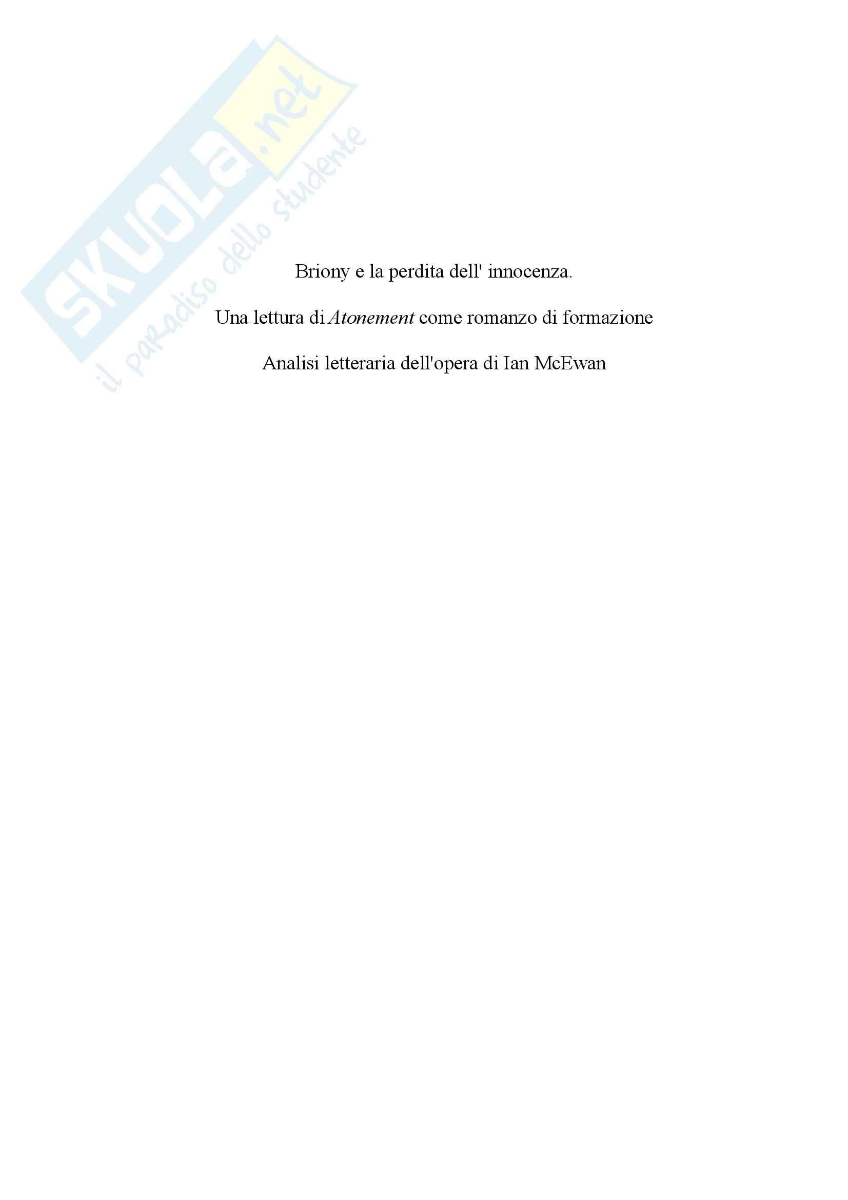 """Briony e la perdita dell'innocenza. Una lettura di """"Atonement"""" come romanzo di formazione - Tesi Pag. 2"""