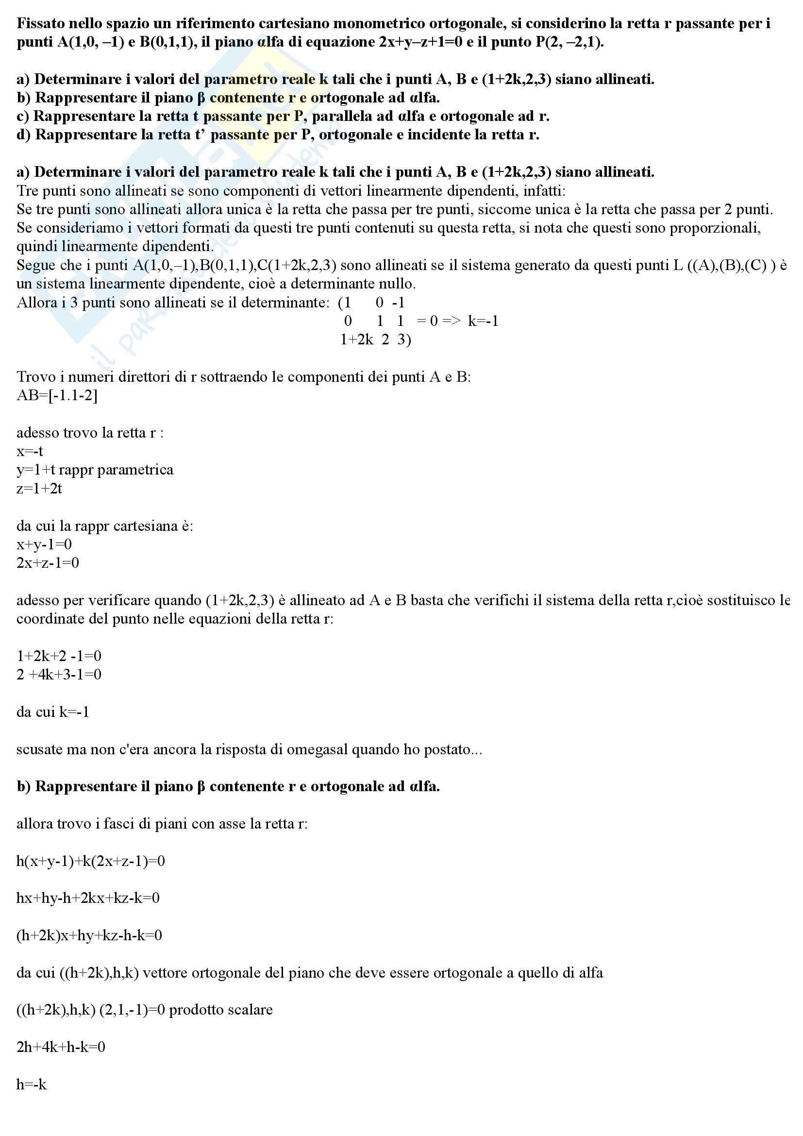 Algebra e Geometria - Esercitazione