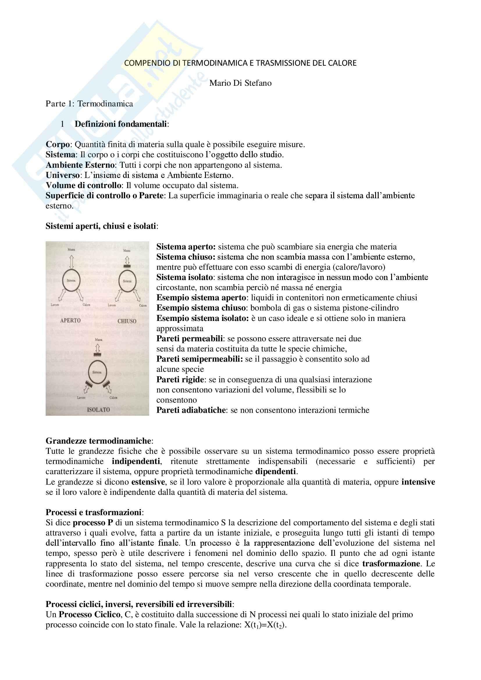 Riassunto esame Termodinamica con temi d'esame e domande orale, prof. Borchiellini