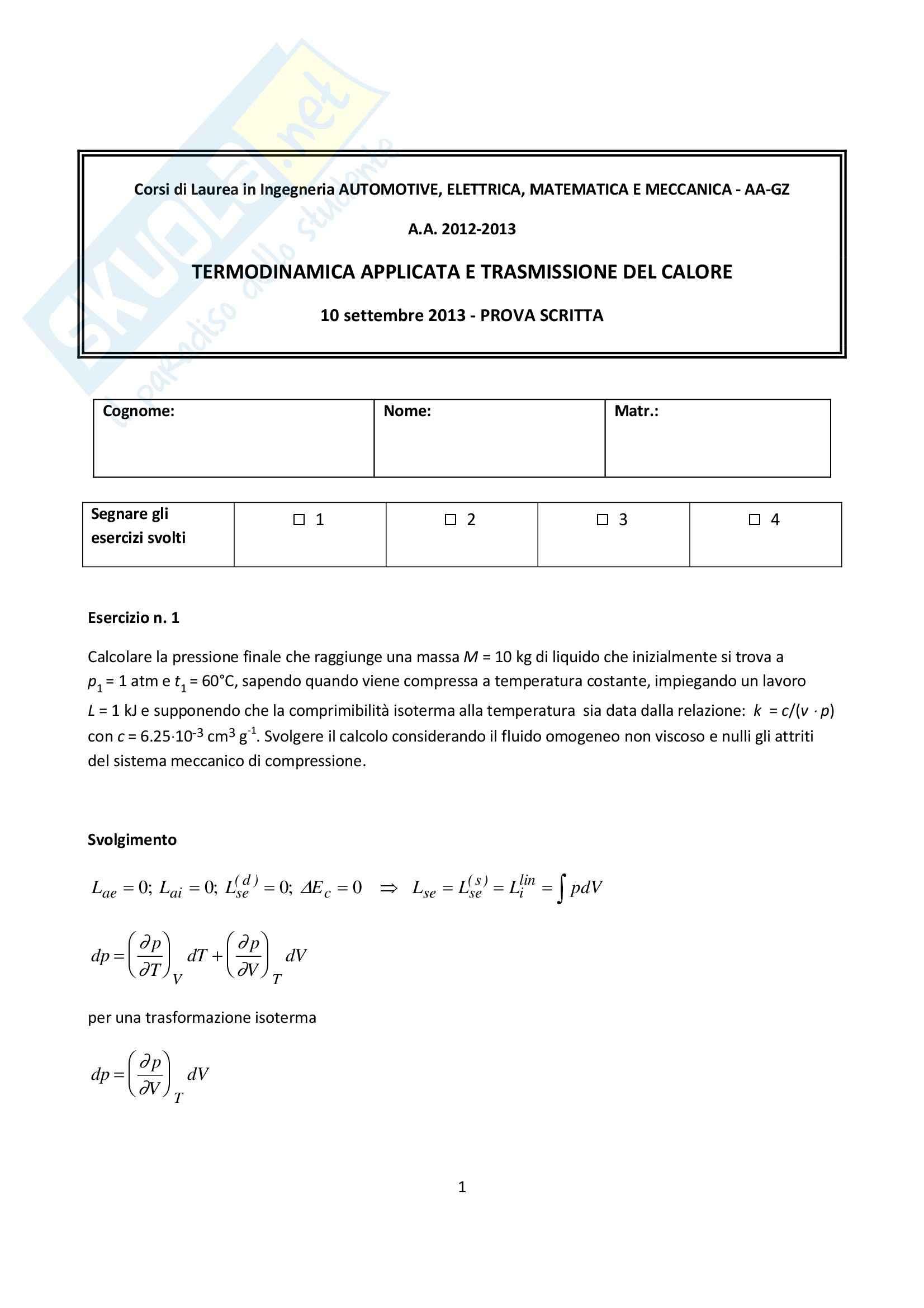 Riassunto esame Termodinamica con temi d'esame e domande orale, prof. Borchiellini Pag. 81