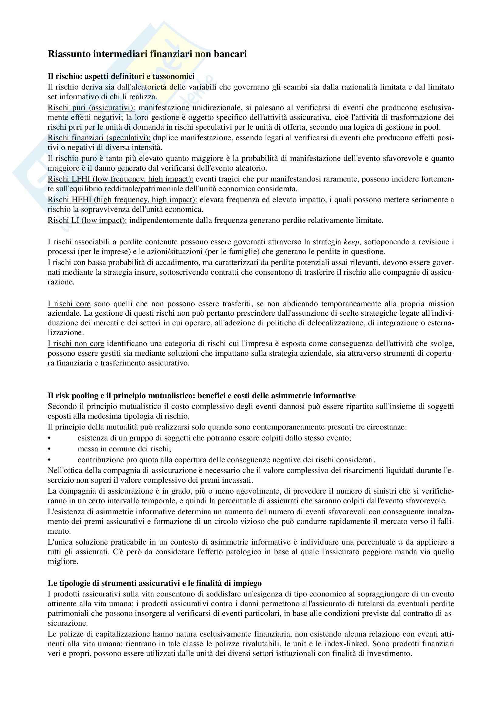 Intermediari finanziari non bancari - Appunti