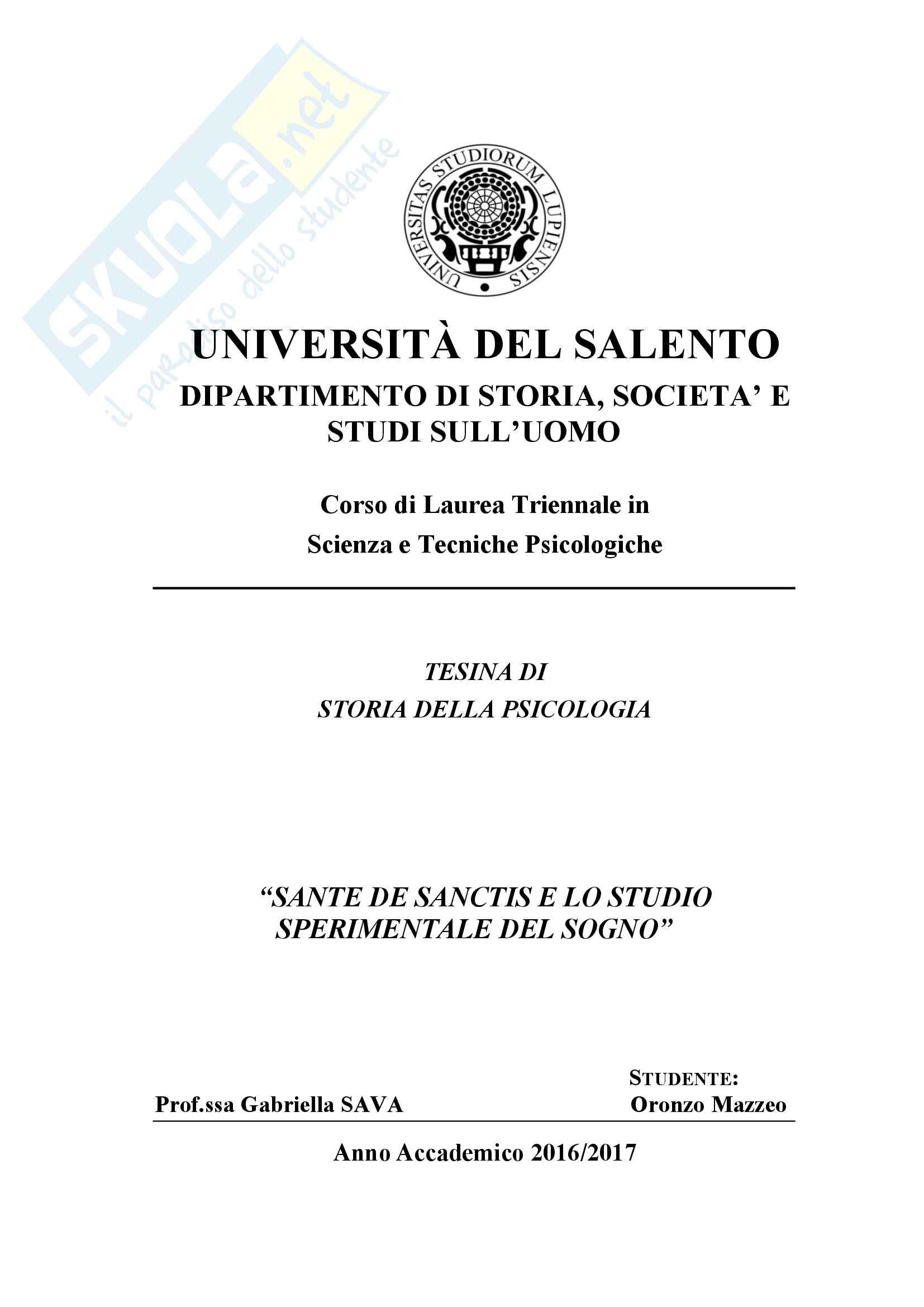 Storia della Psicologia - Tesina su Sante De Sanctis