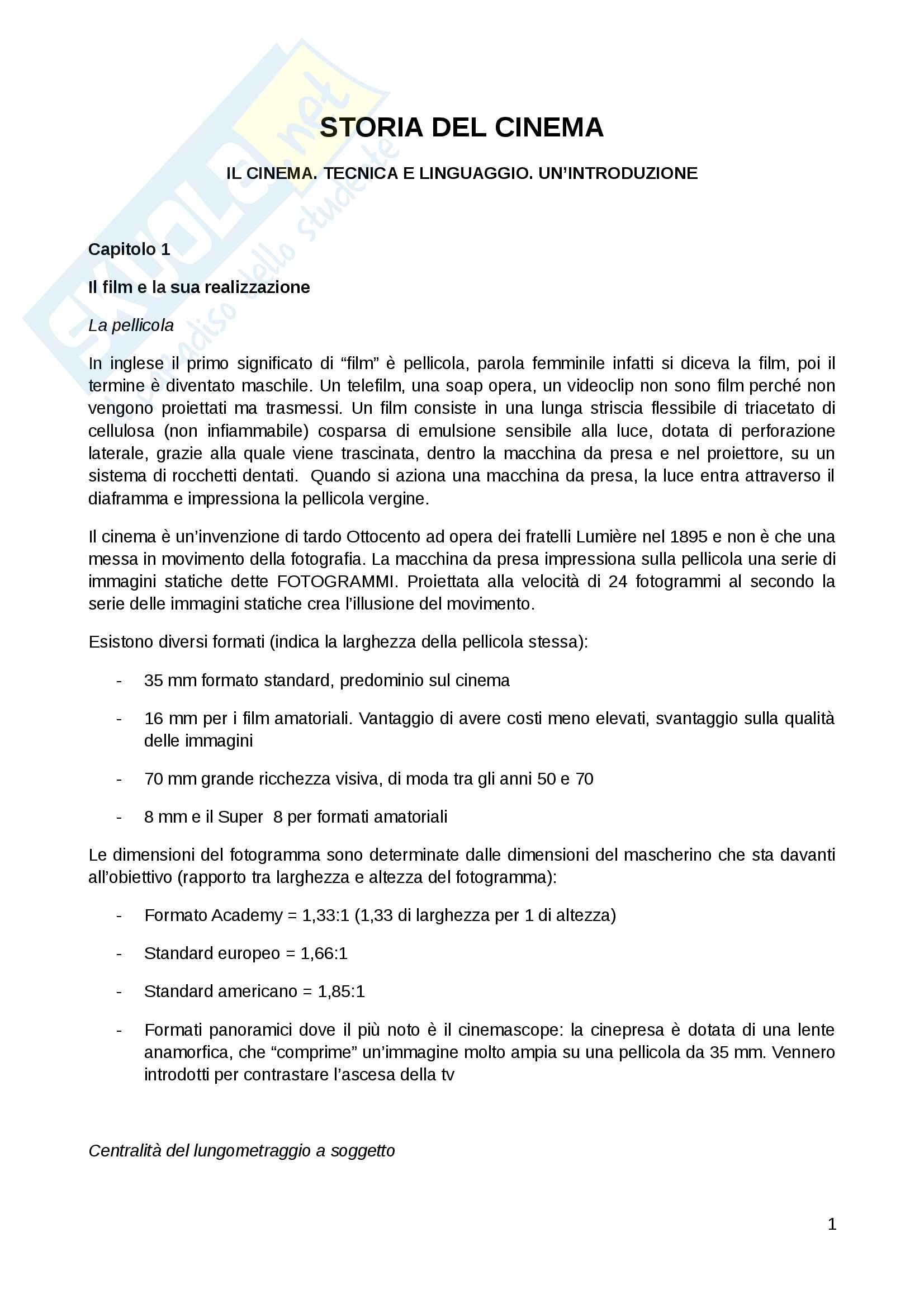 Riassunto esame storia del cinema, prof. G.Alonge. Libro consigliato Il cinema: tecnica e linguaggio. Un'introduzione, G.Alonge