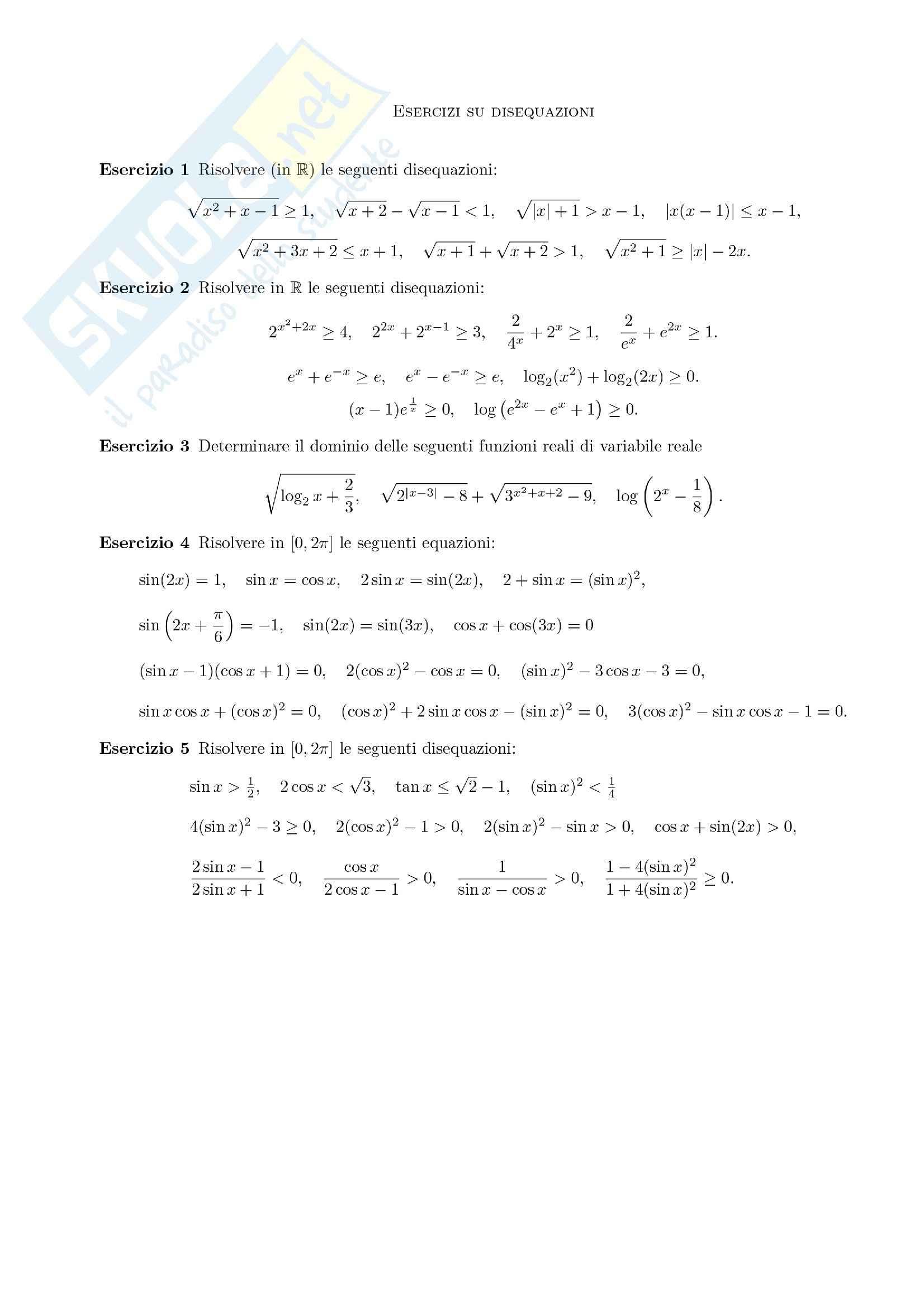 Analisi matematica I - le disequazioni