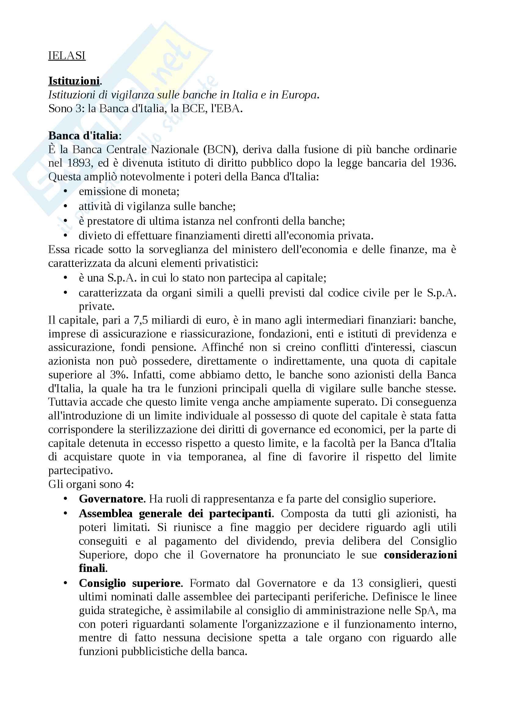 "Riassunto esame intermediari finanziari, prof.ssa Federica Ielasi (9 CFU), libro consigliato: ""lineamenti di gestione bancaria"", Lorenzo Gai."