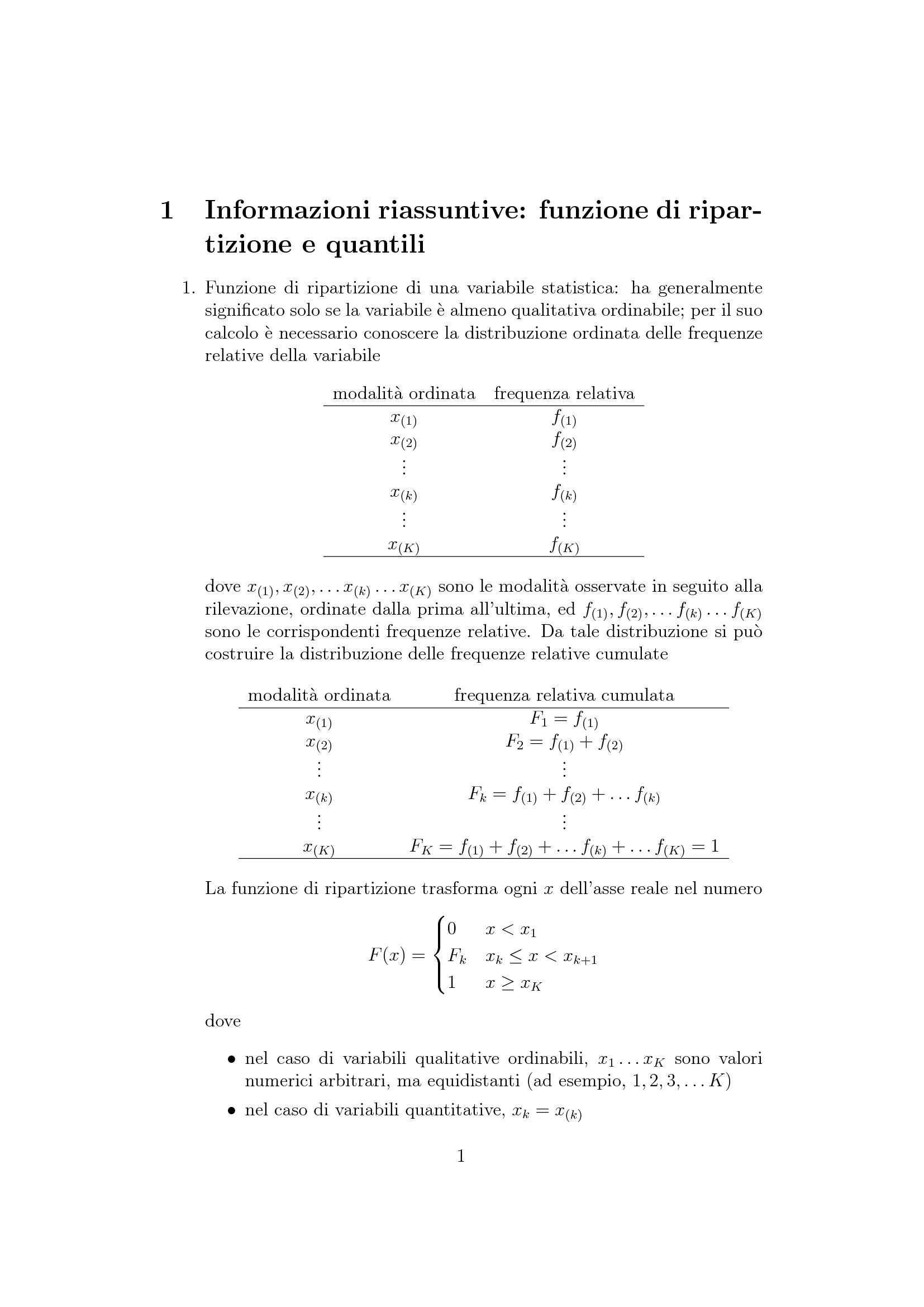 Funzioni di ripartizione e quantili