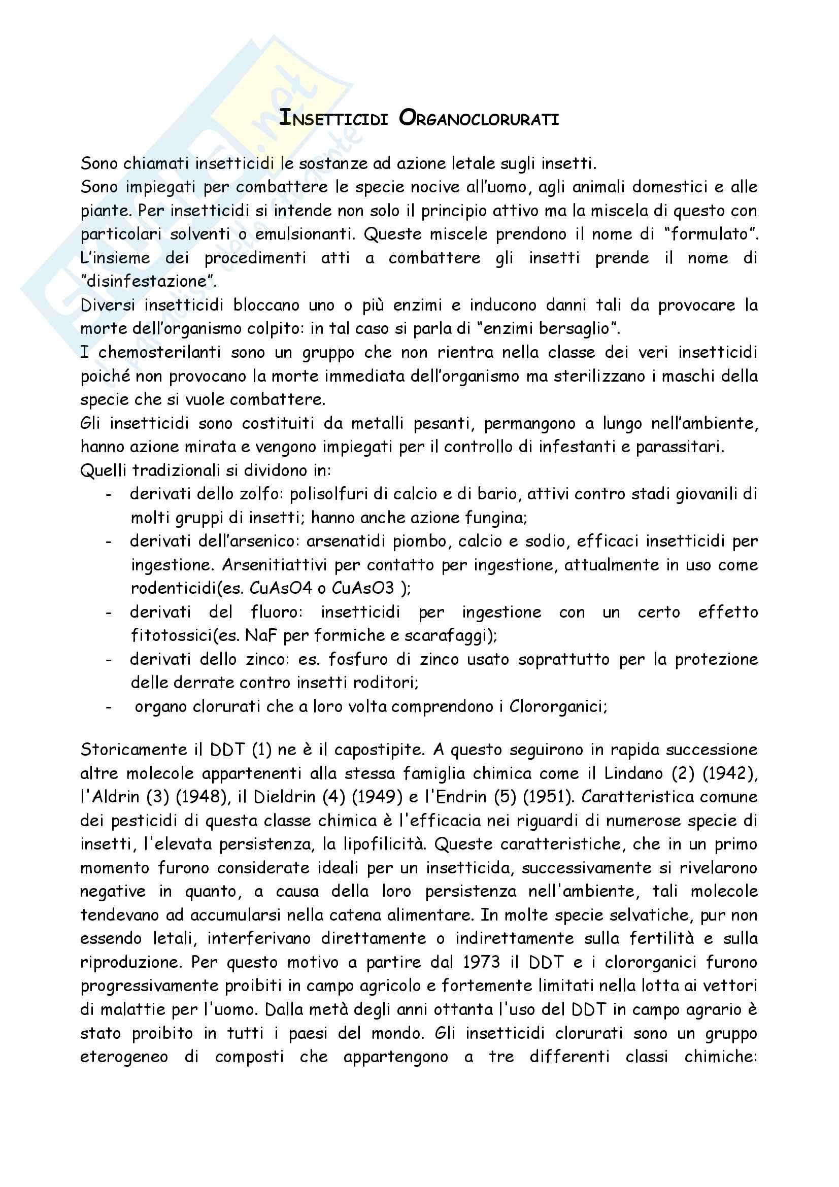Chimica organica - insetticidi organoclorurati