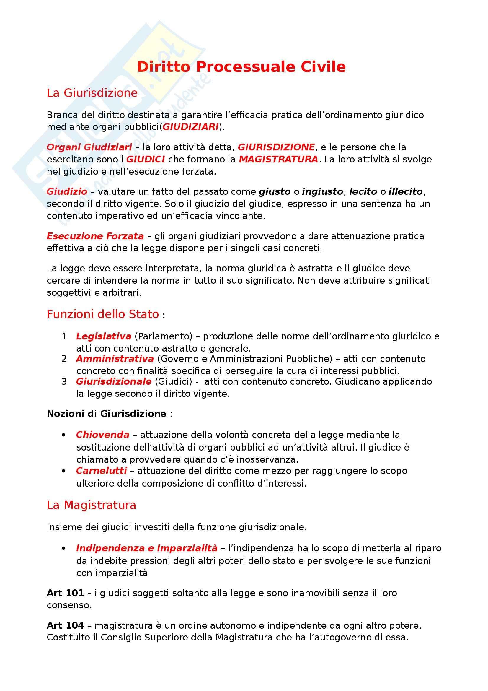 Riassunto esame Diritto Processuale Civile, prof. Maruffi, libro consigliato Diritto Processuale Civile di Tarzia