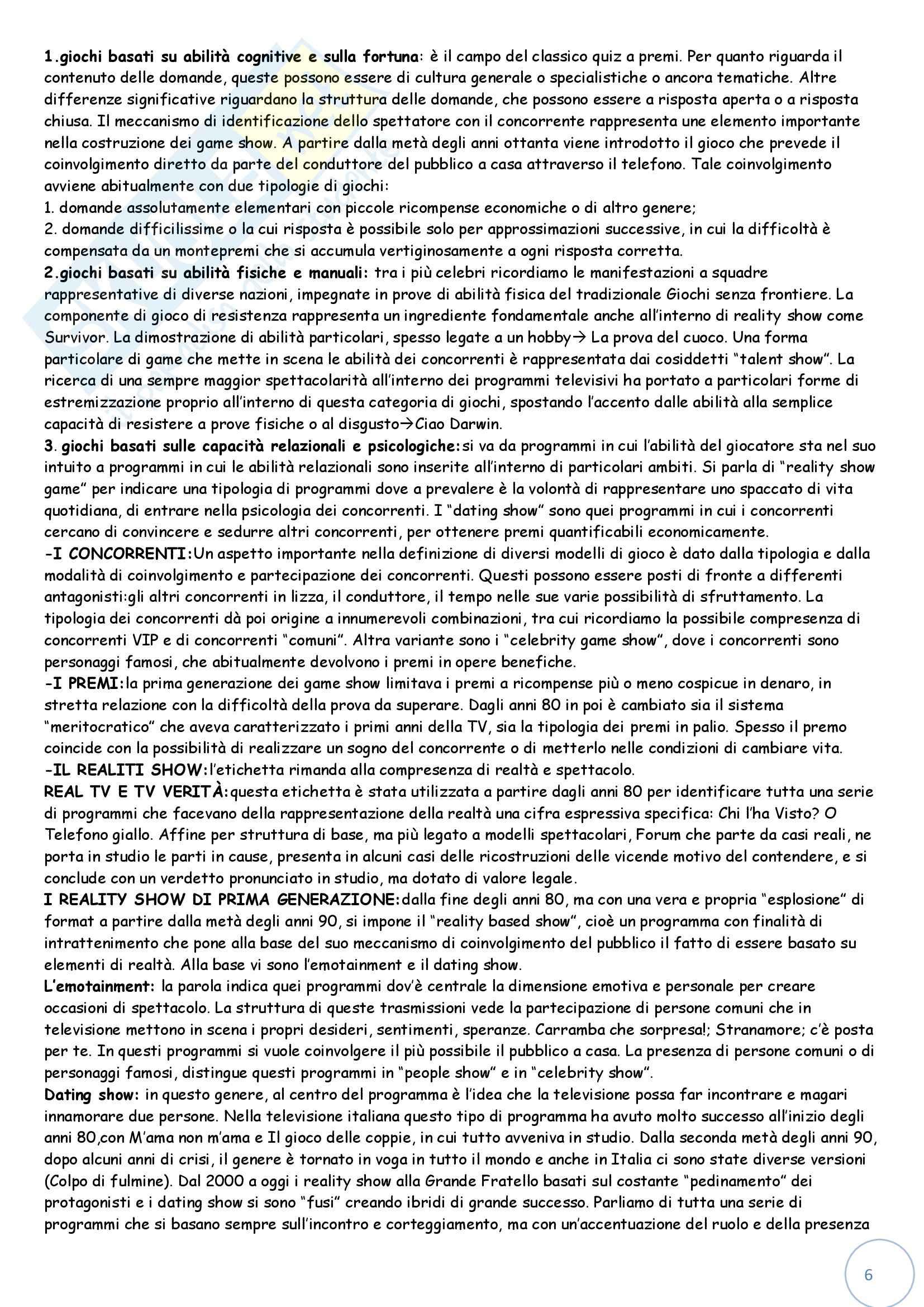 Riassunto esame Teoria e Tecnica del Linguaggio Audiovisivo, prof. Bellavita, libro consigliato I Generi Televisivi di Grignaffini Pag. 6