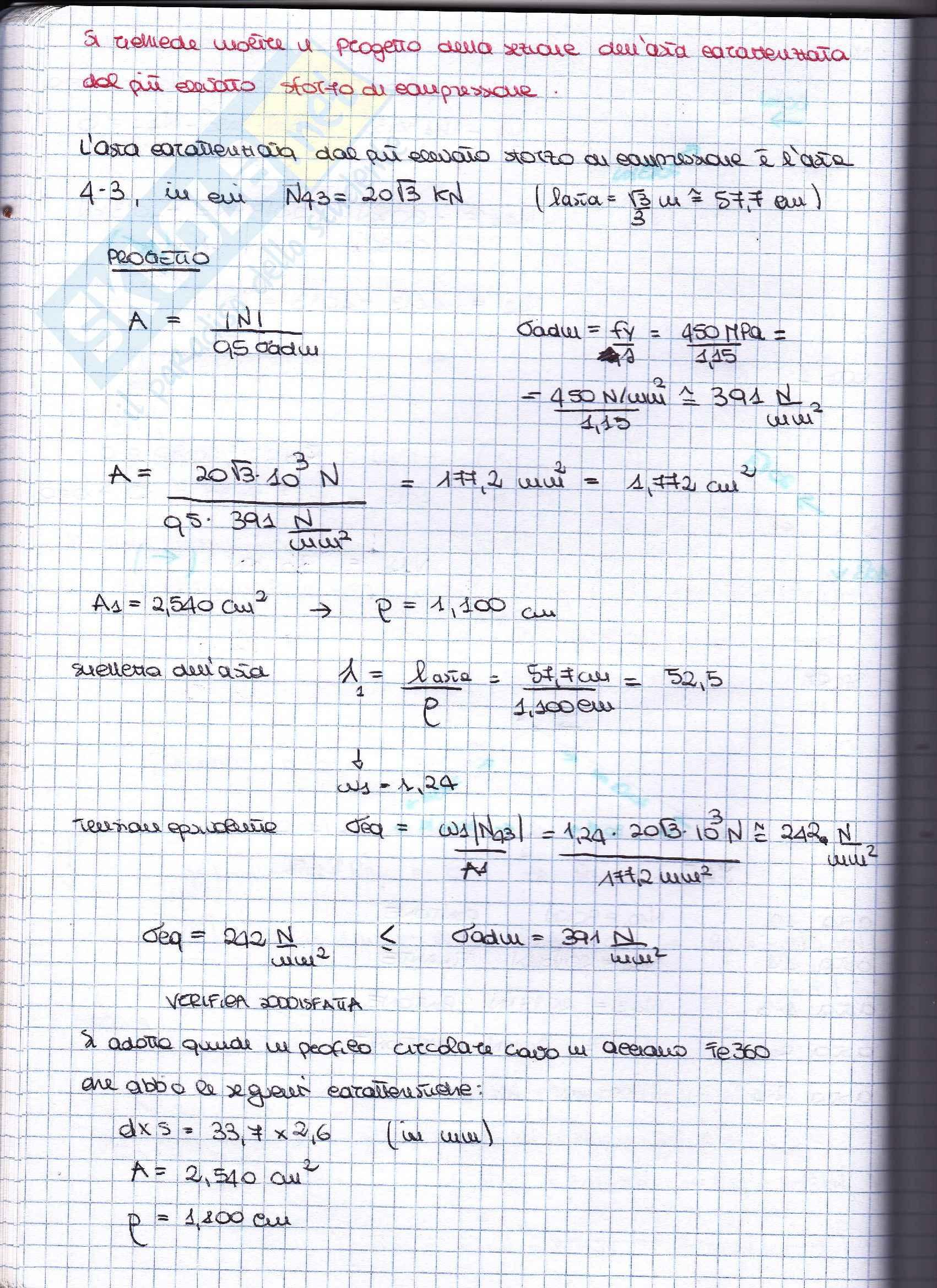 Scienza delle costruzioni, Esercizi svolti e spiegati 2 Pag. 16