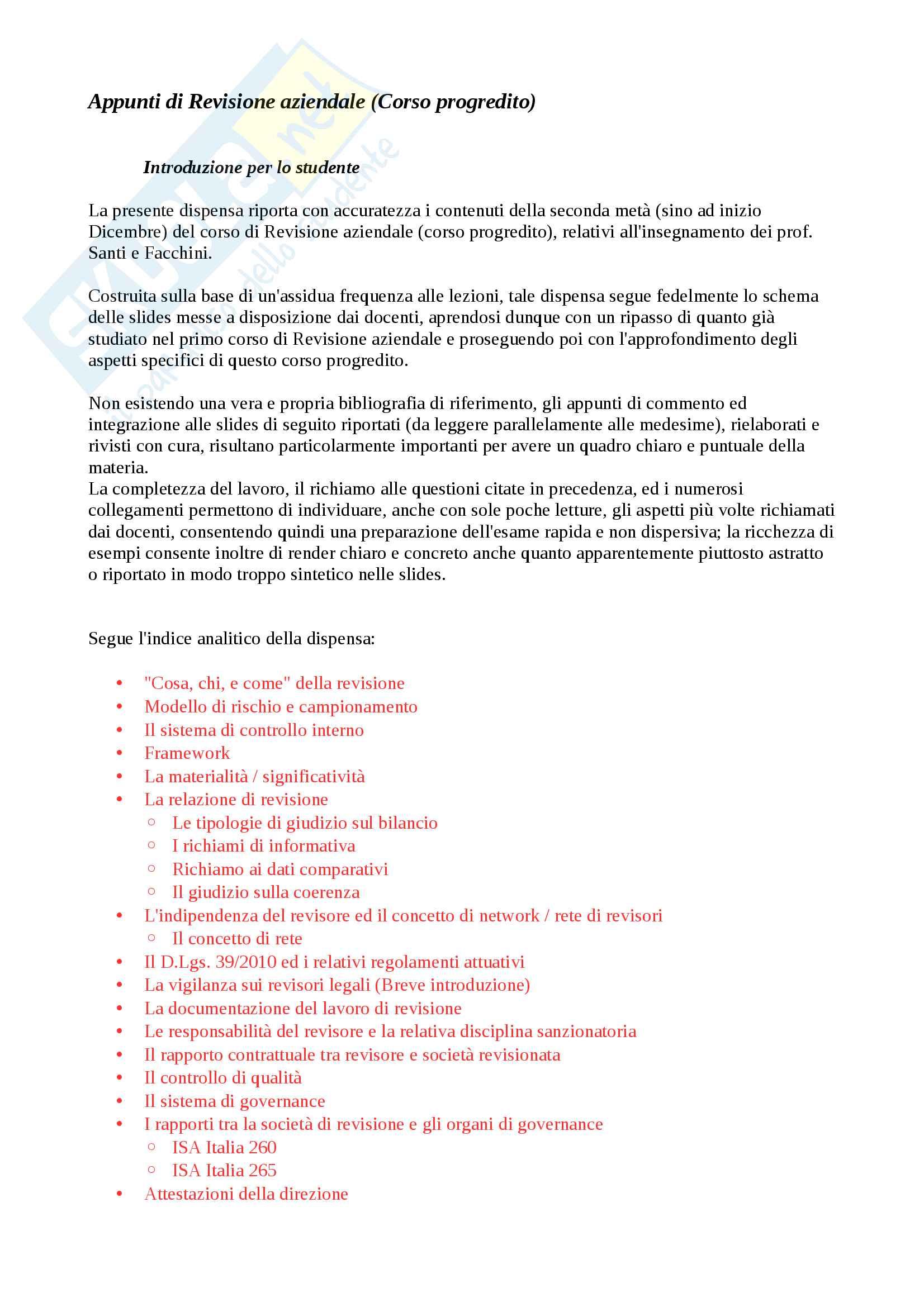Appunti di Revisione Aziendale (Progredito), Parte 2 di 3