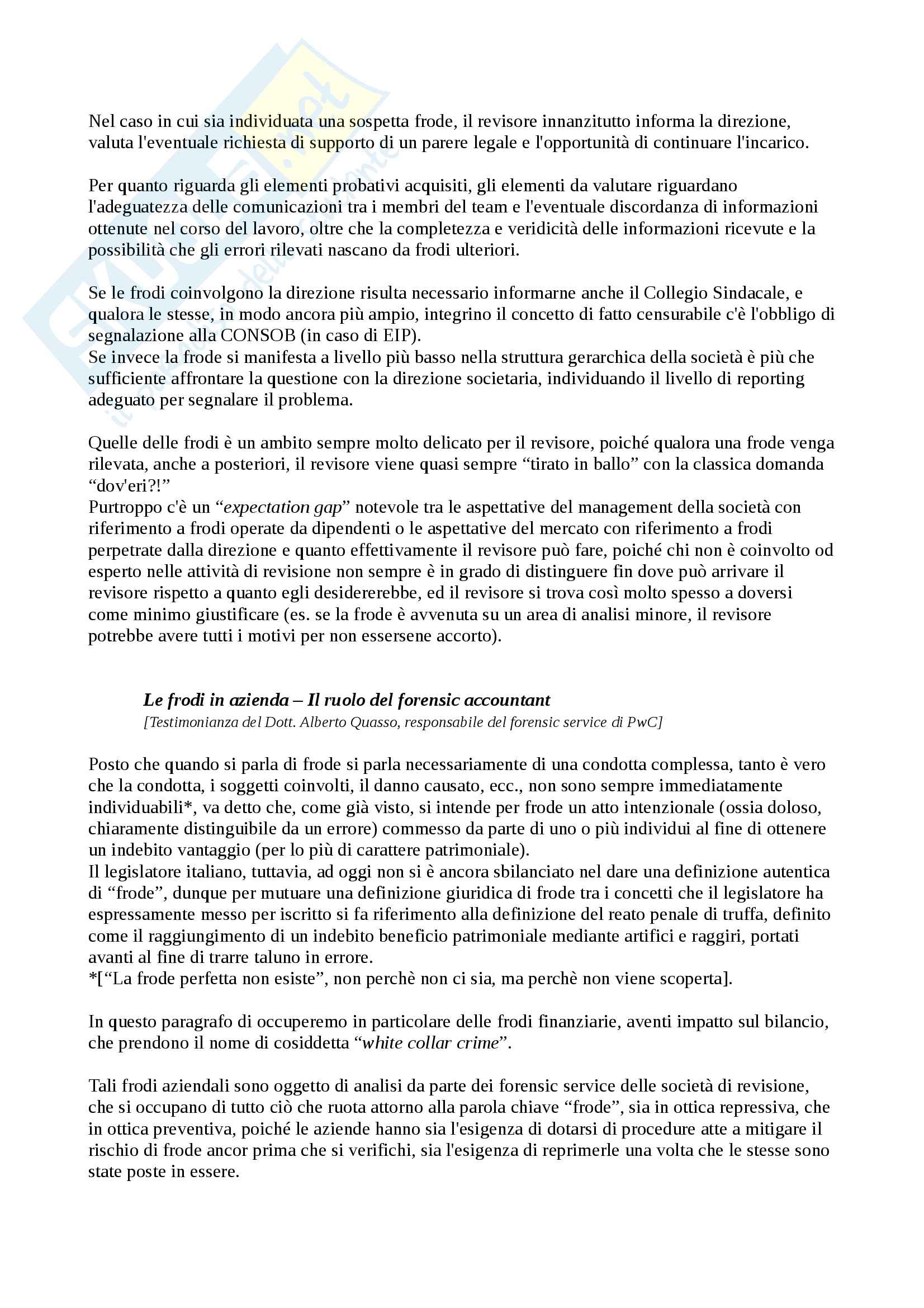 Appunti di Revisione Aziendale (Progredito), Parte 2 di 3 Pag. 11