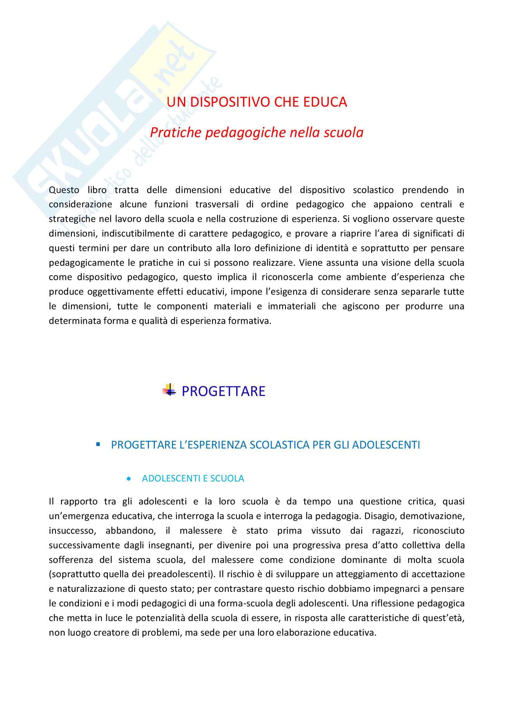 Riassunto esame di Pedagogia generale, prof Anna Rezzara, libro consigliato Un dispositivo che educa pratiche pedagogiche nella scuola, Anna Rezzara
