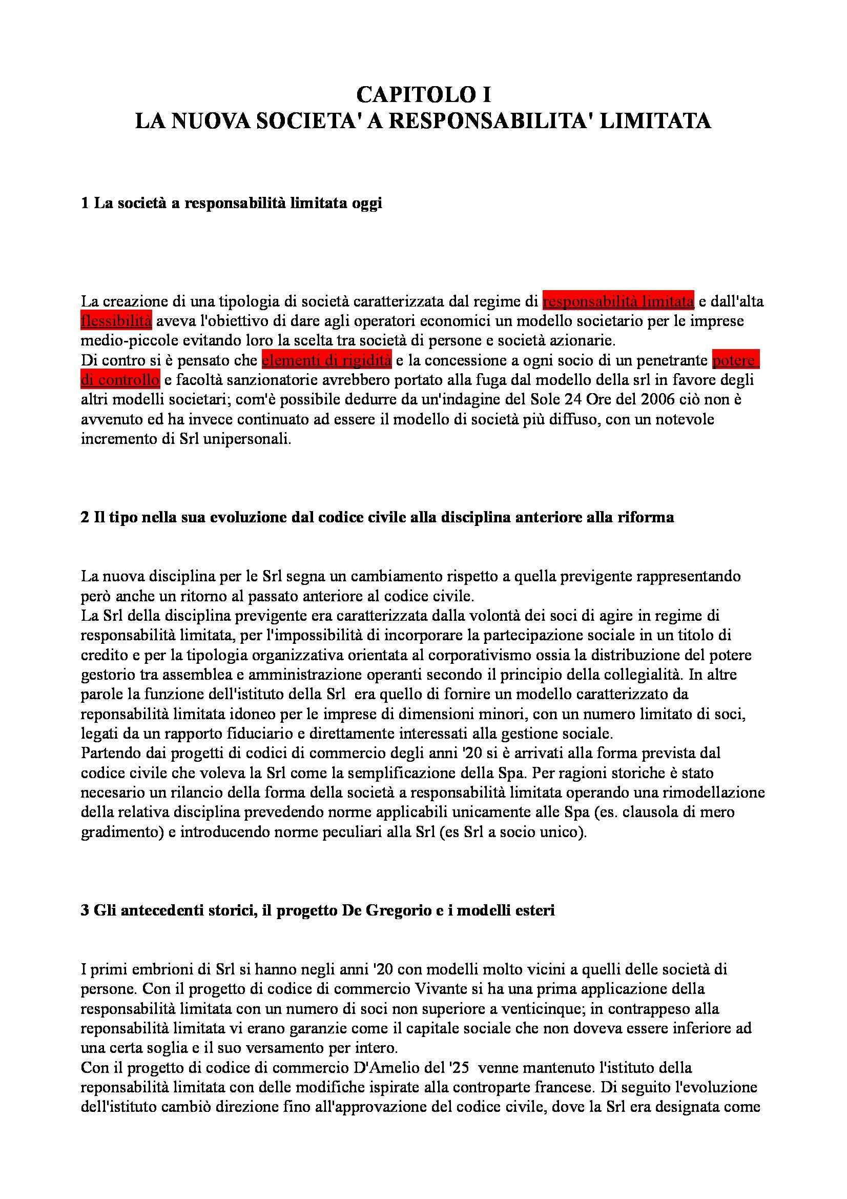 Riassunto esame Diritto Commerciale Avanzato, prof. Ibba, libro consigliato La Società a Responsabilità Limitata, Cagnasso
