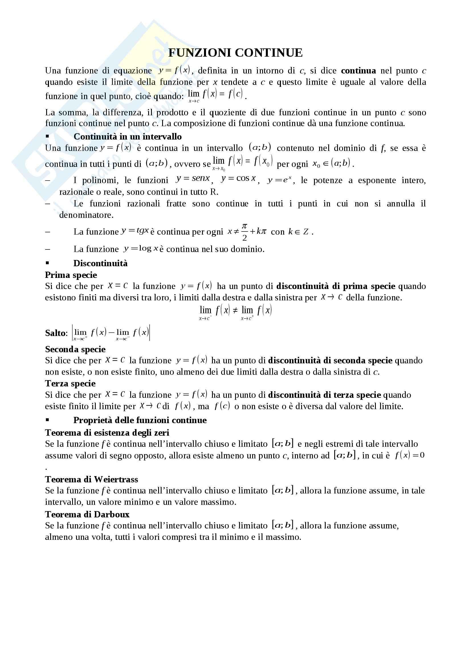 Schema sulle funzioni continue, Analisi matematica I