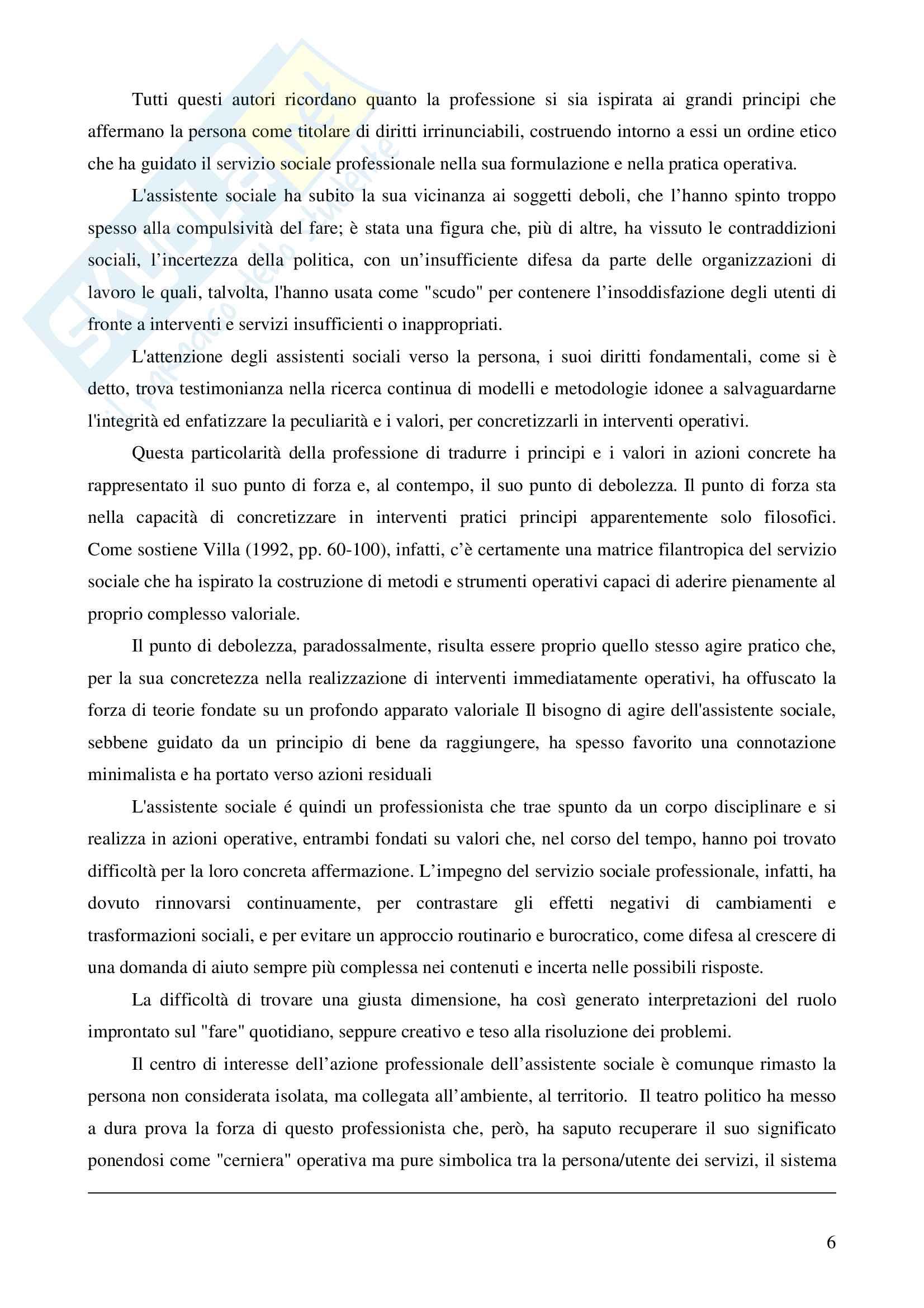 """Riassunto esame Metodi e tecniche del servizio sociale, prof.ssa Rizzo, libro adottato """"Assistenti sociali professionisti"""" (Annamaria Zilianti, Beatrice Rovai) Pag. 6"""