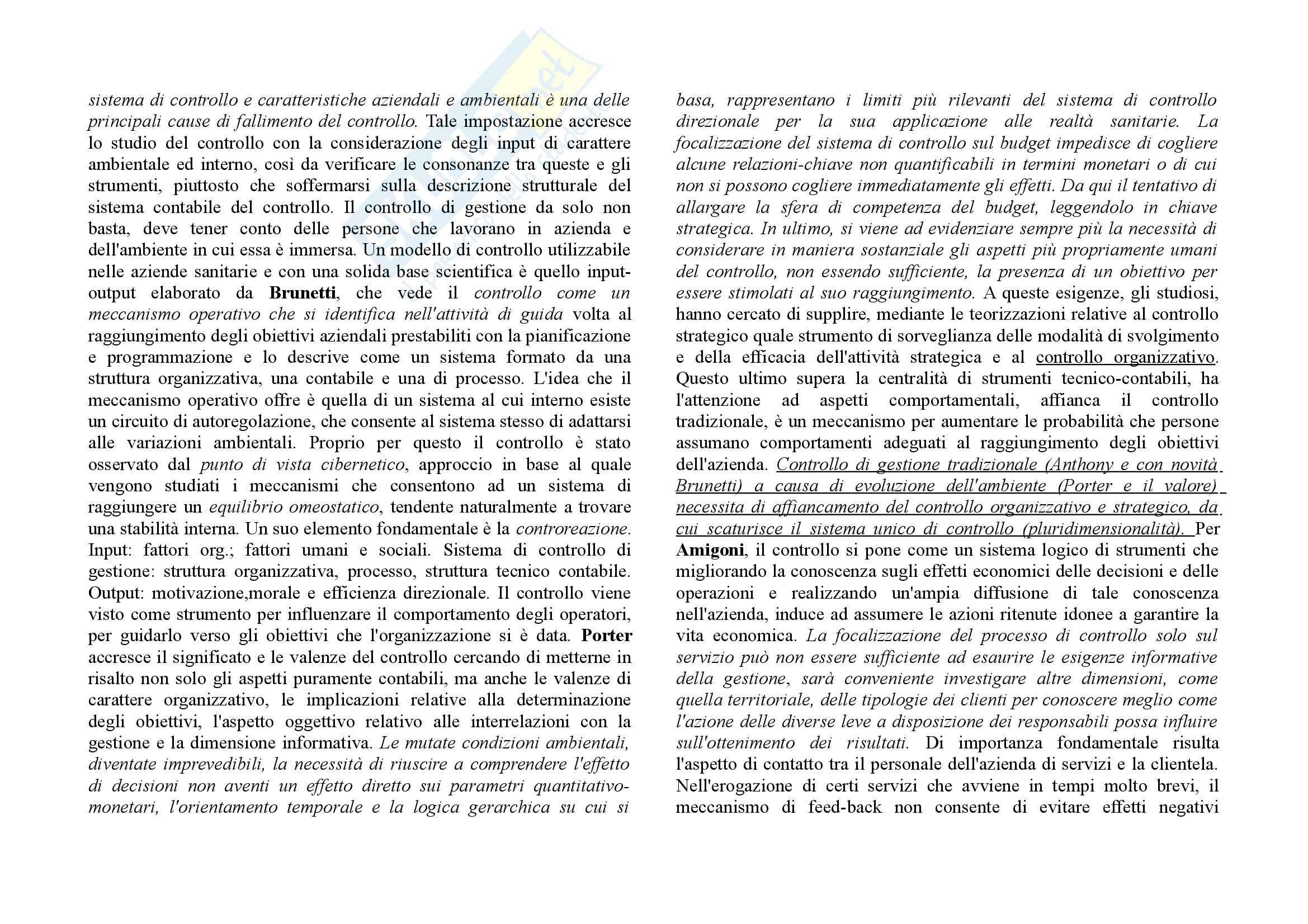 Economia delle aziende sanitarie - i presupposti per il controllo Pag. 2