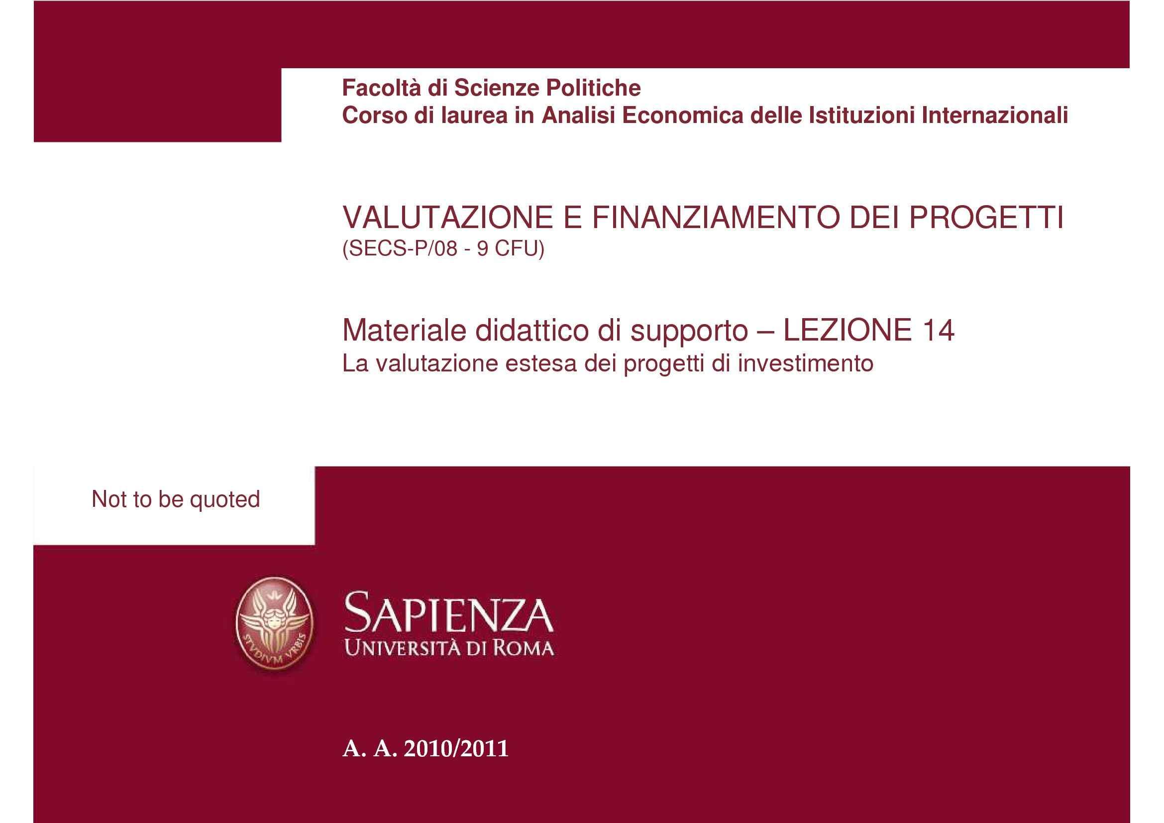Valutazione estesa dei progetti di investimento