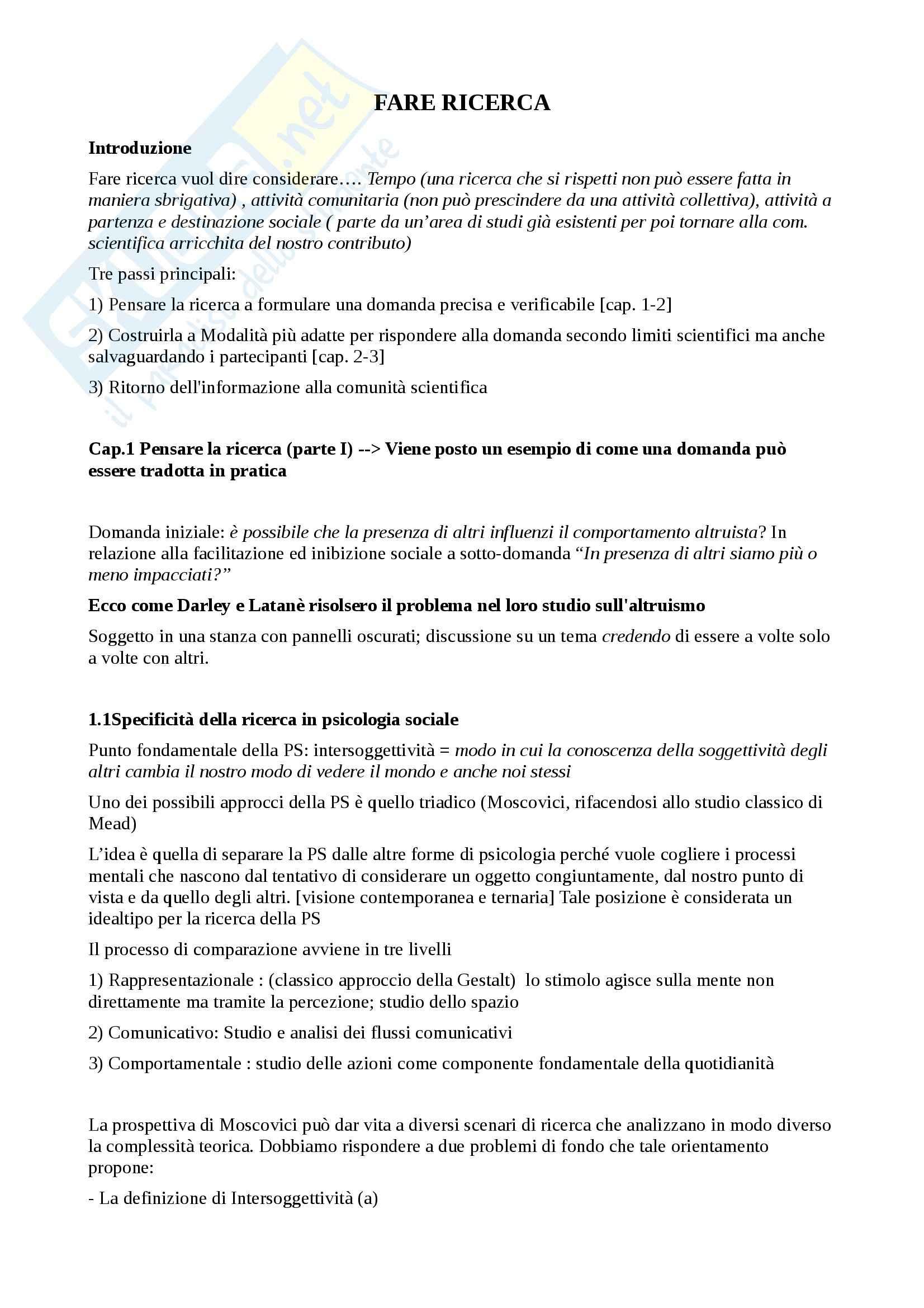 Psicologia sociale e della comunicazione - fare ricerca in psicologia sociale
