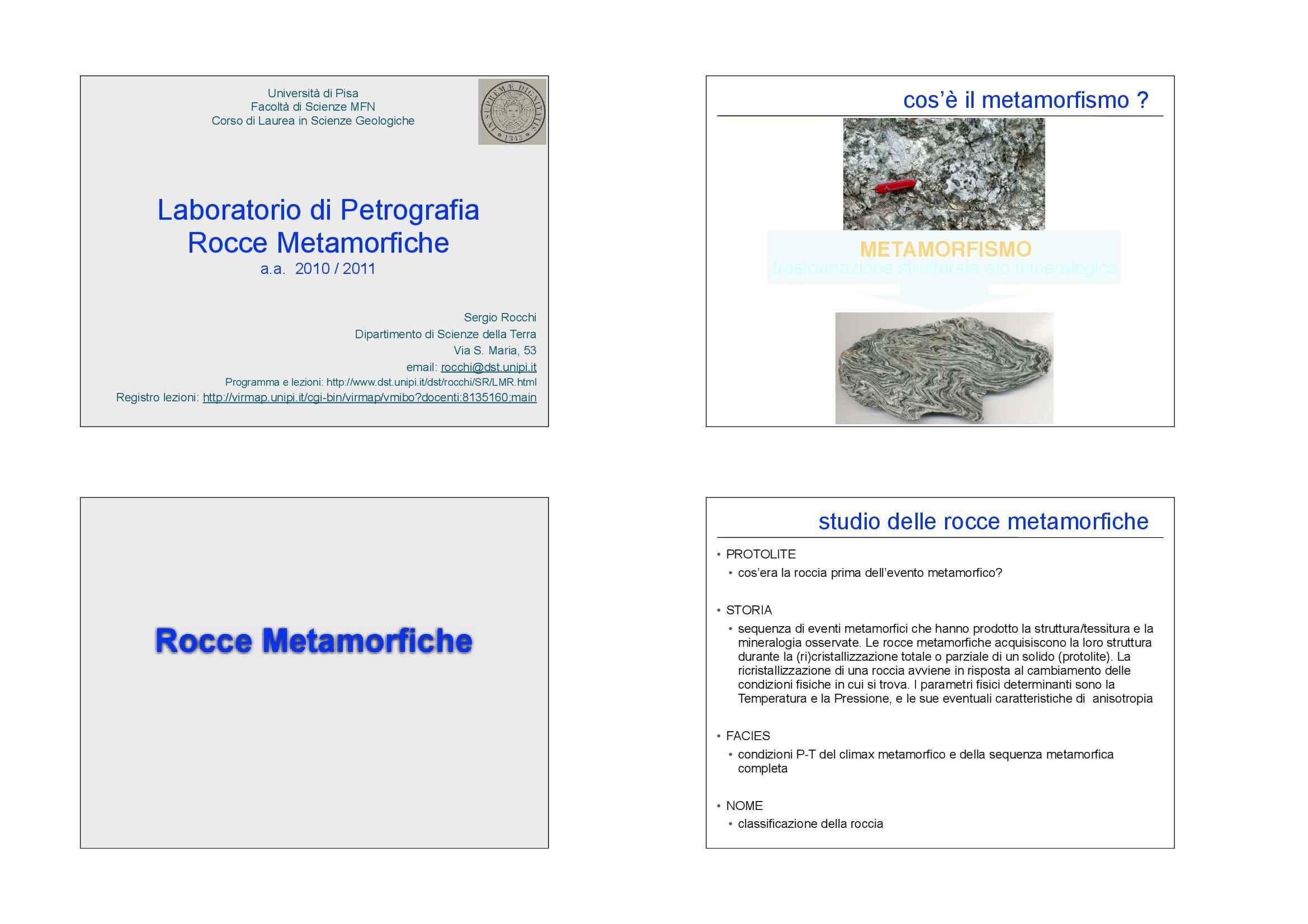Rocce metamorfiche - Classificazione e microstrutture