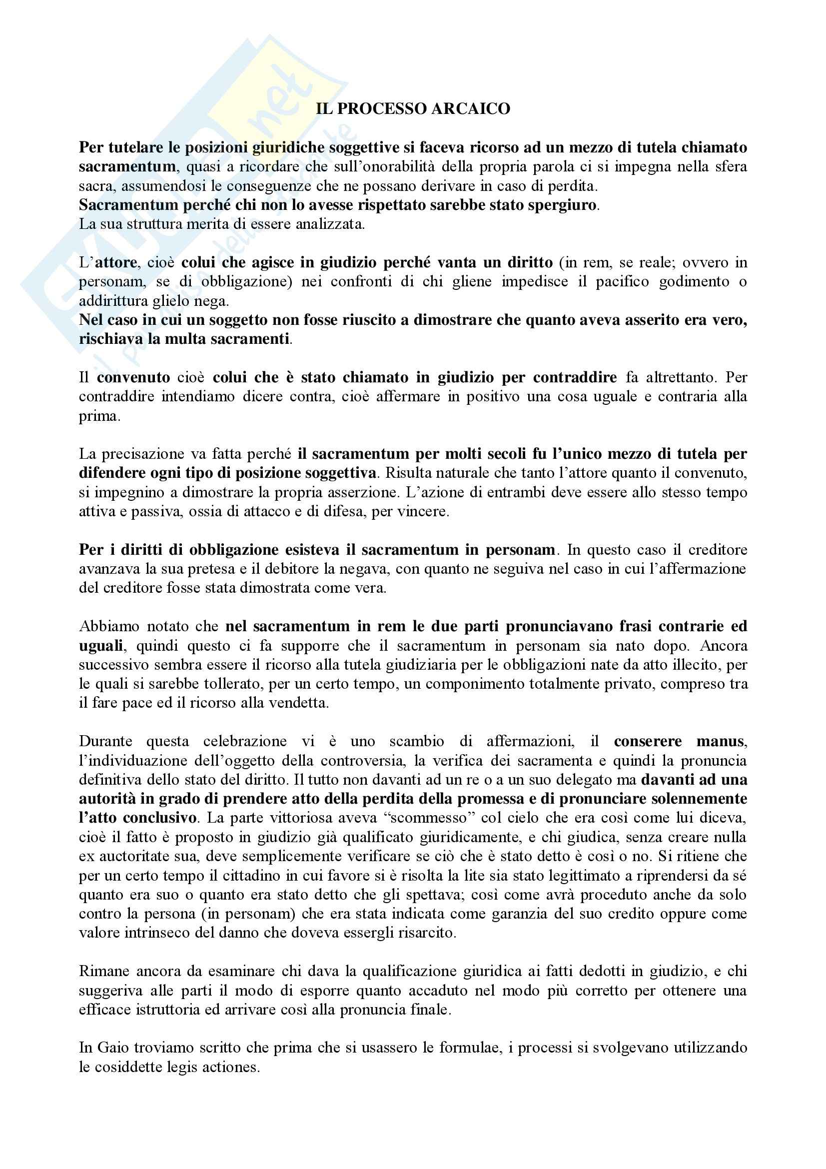 Istituzioni di diritto romano - il processo arcaico