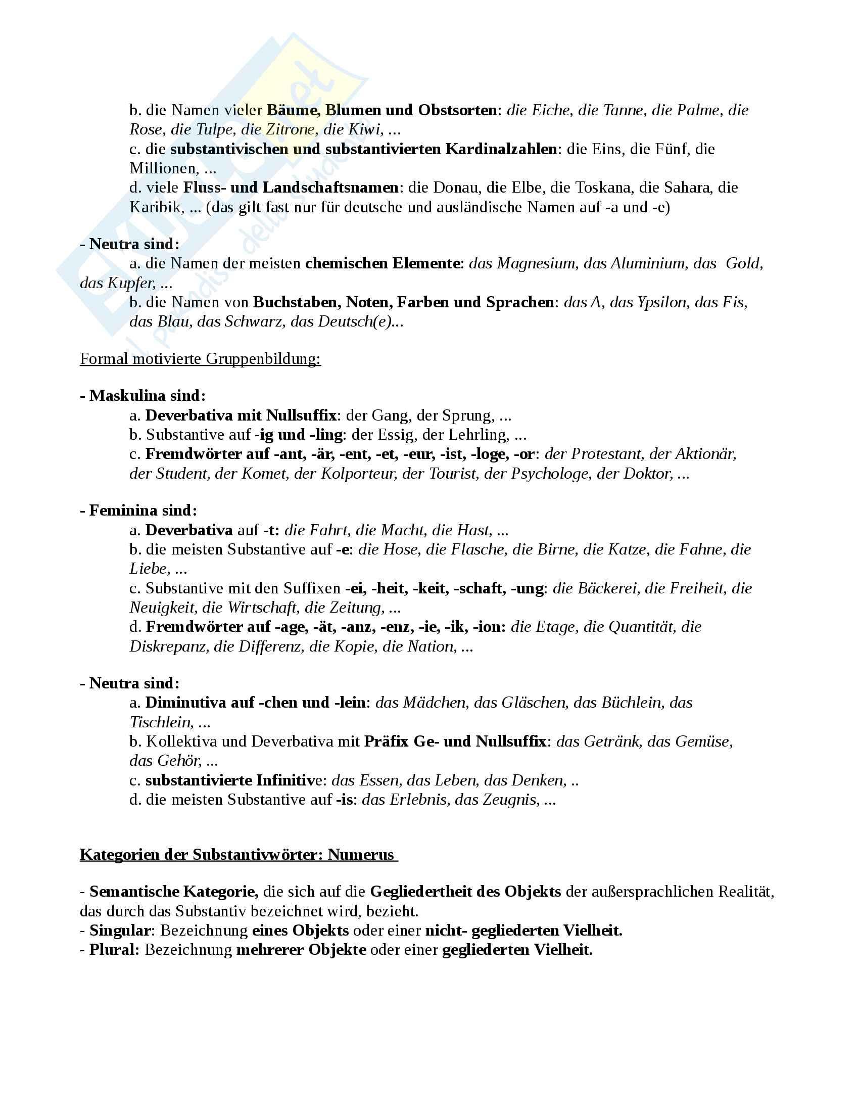 Il sostantivo tedesco e la forma pronominale III pers. Es Pag. 2