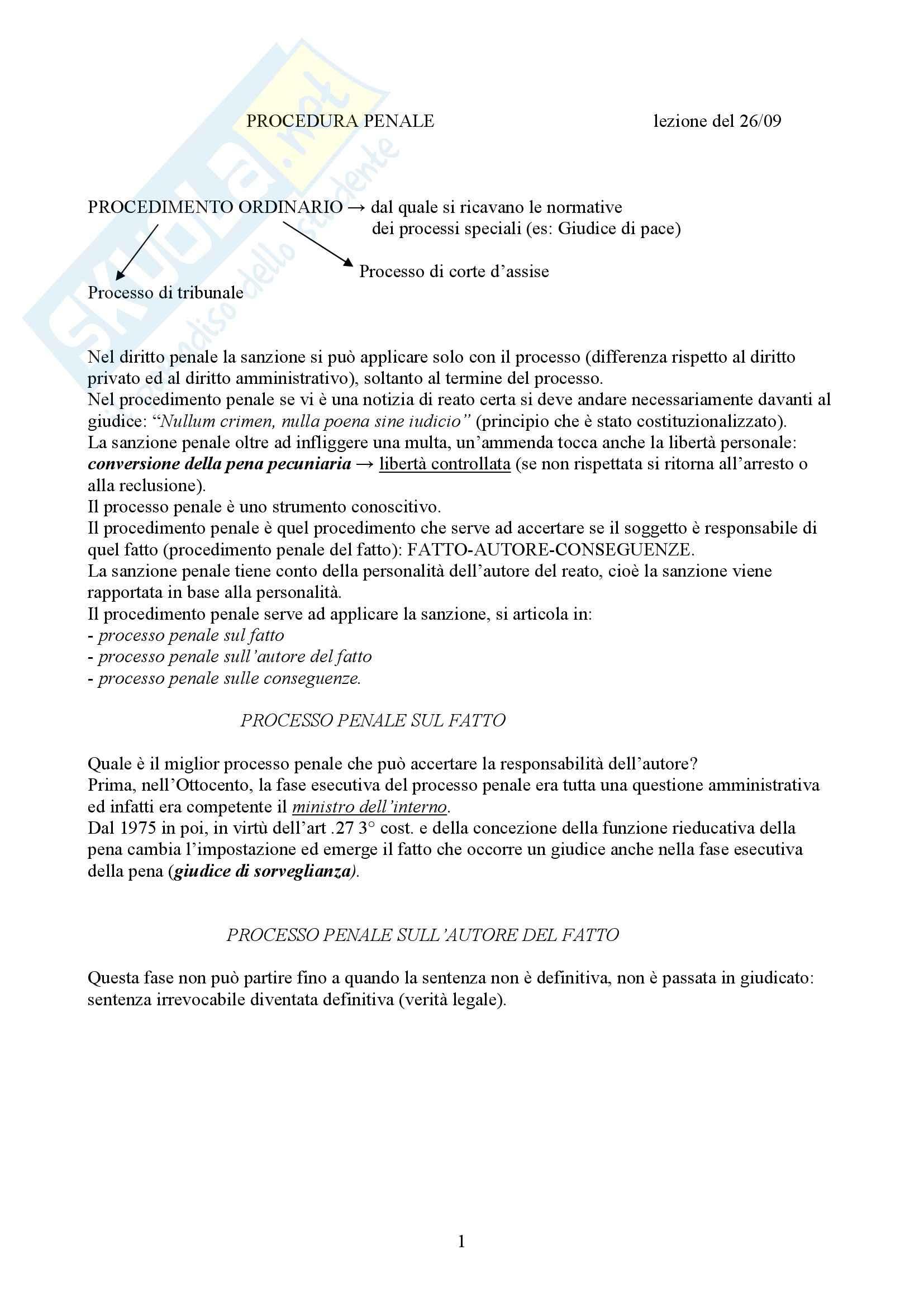 Diritto Processuale Penale - Appunti