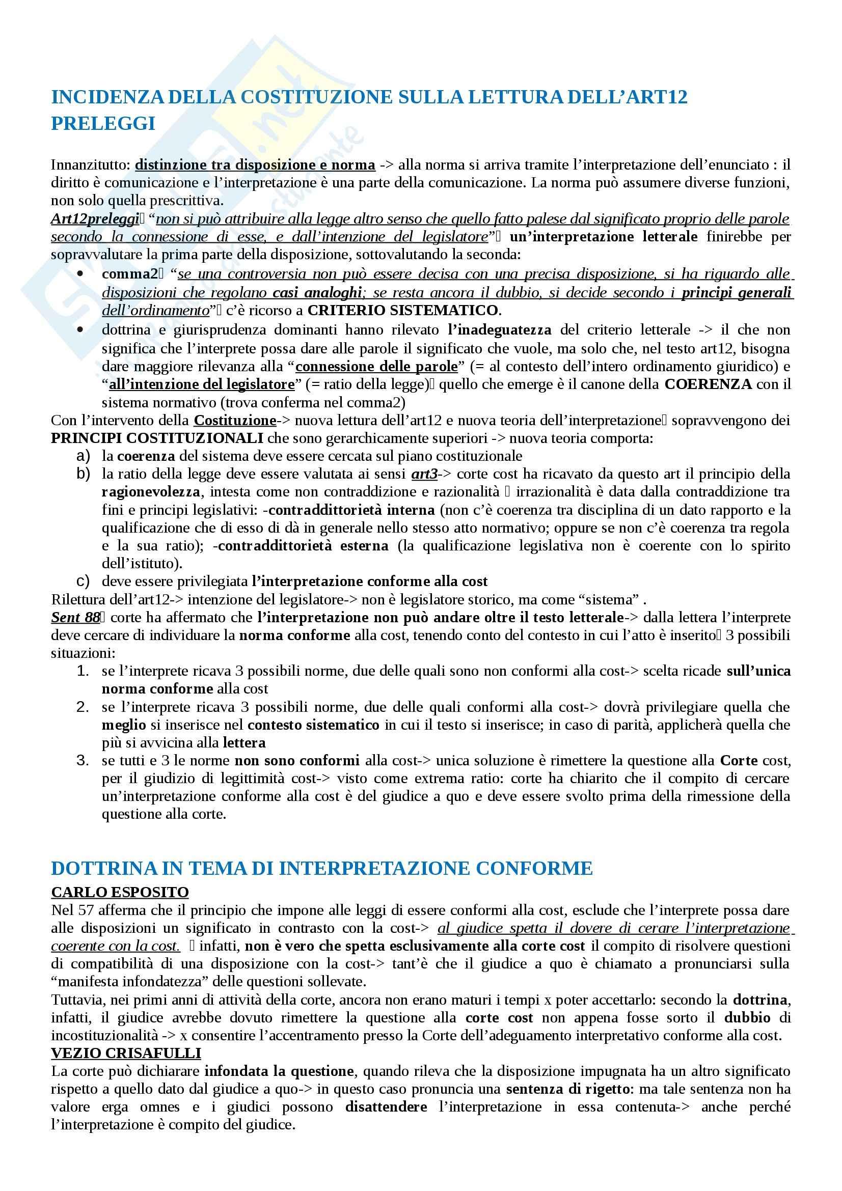 Riassunto esame diritto costituzionale, prof. Fontana, libro consigliato Interpretare nel segno della Costituzione, Ruotolo