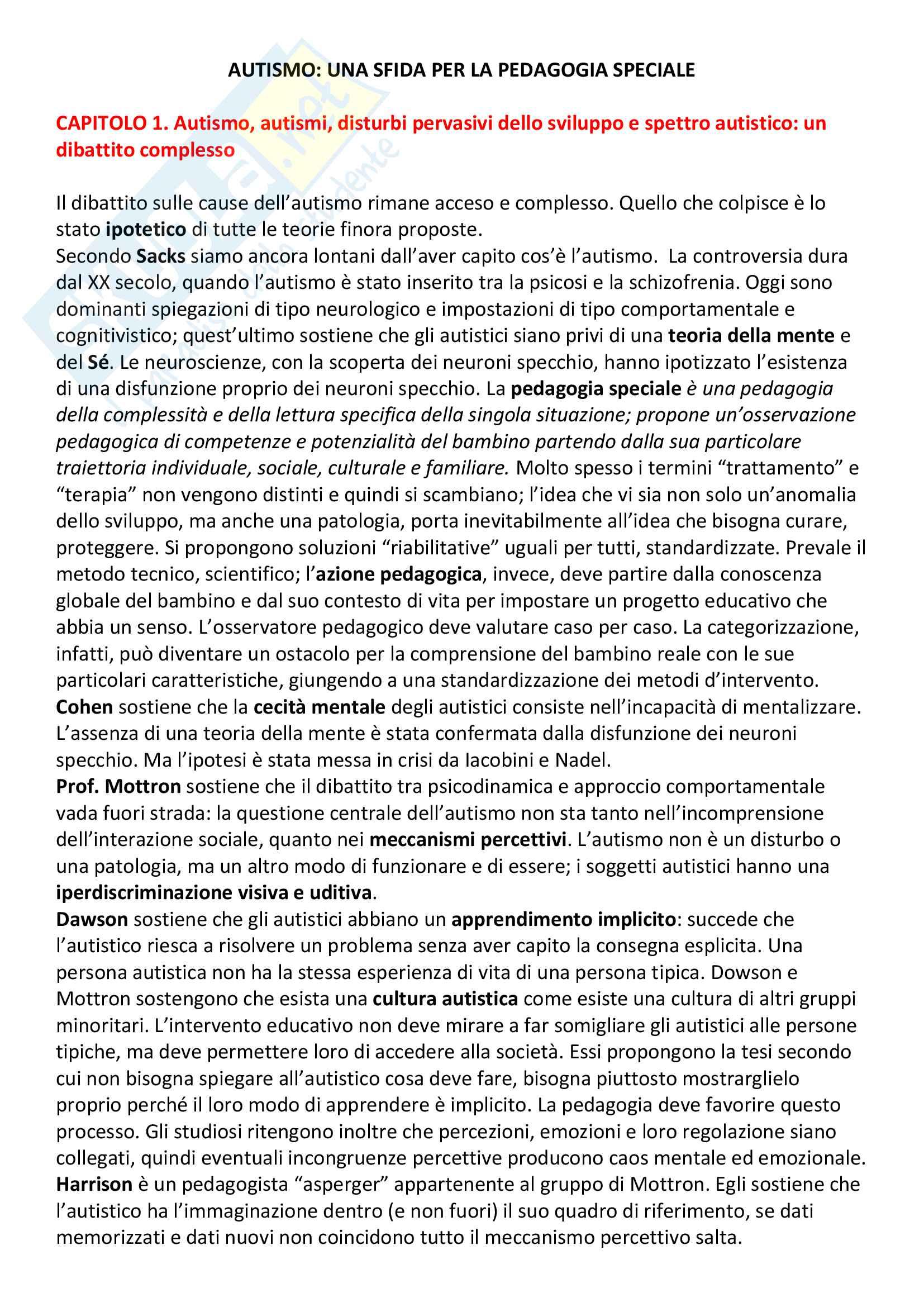 Riassunto Pedagogia Speciale. Prof Smeriglio, libro consigliato Autismo. Una sfida per la pedagogia speciale, Alain Goussot