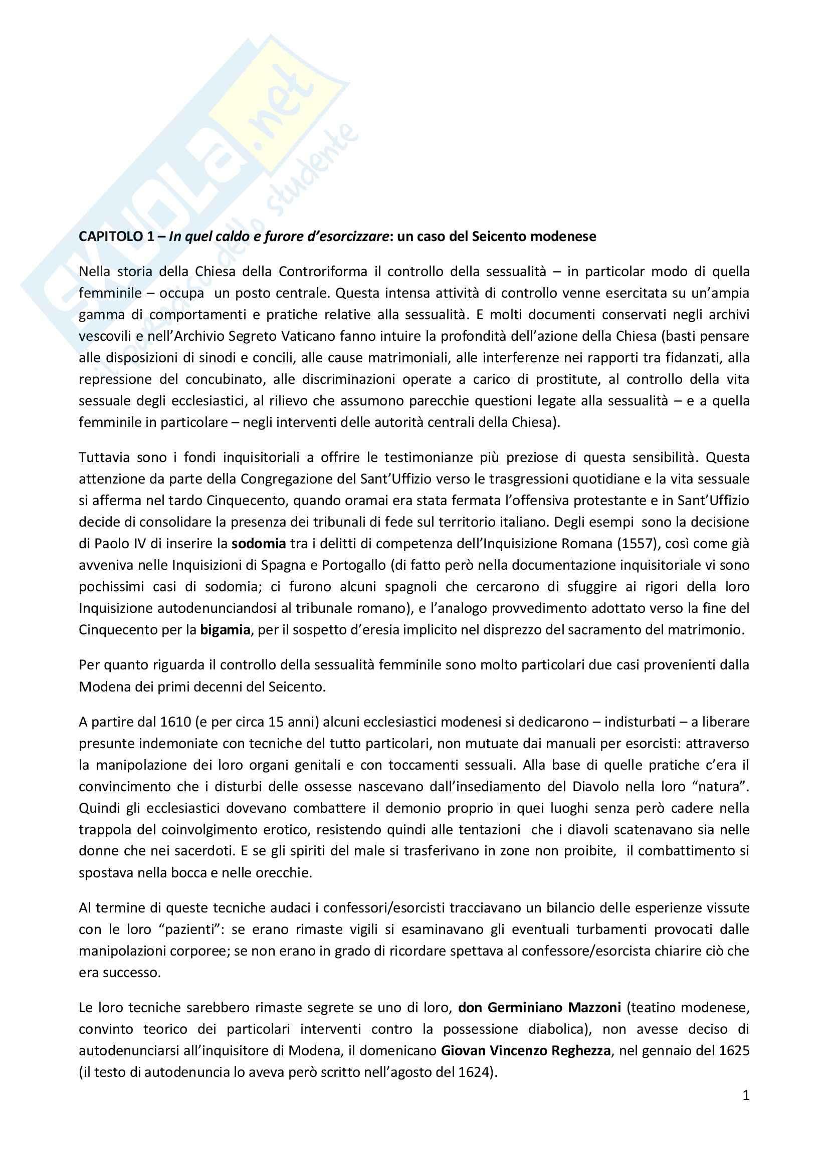 Riassunto esame Storia moderna, prof. Pizzorusso, libro consigliato Esorcisti, confessori e sessualità femminile nell'Italia della Controriforma, Romeo