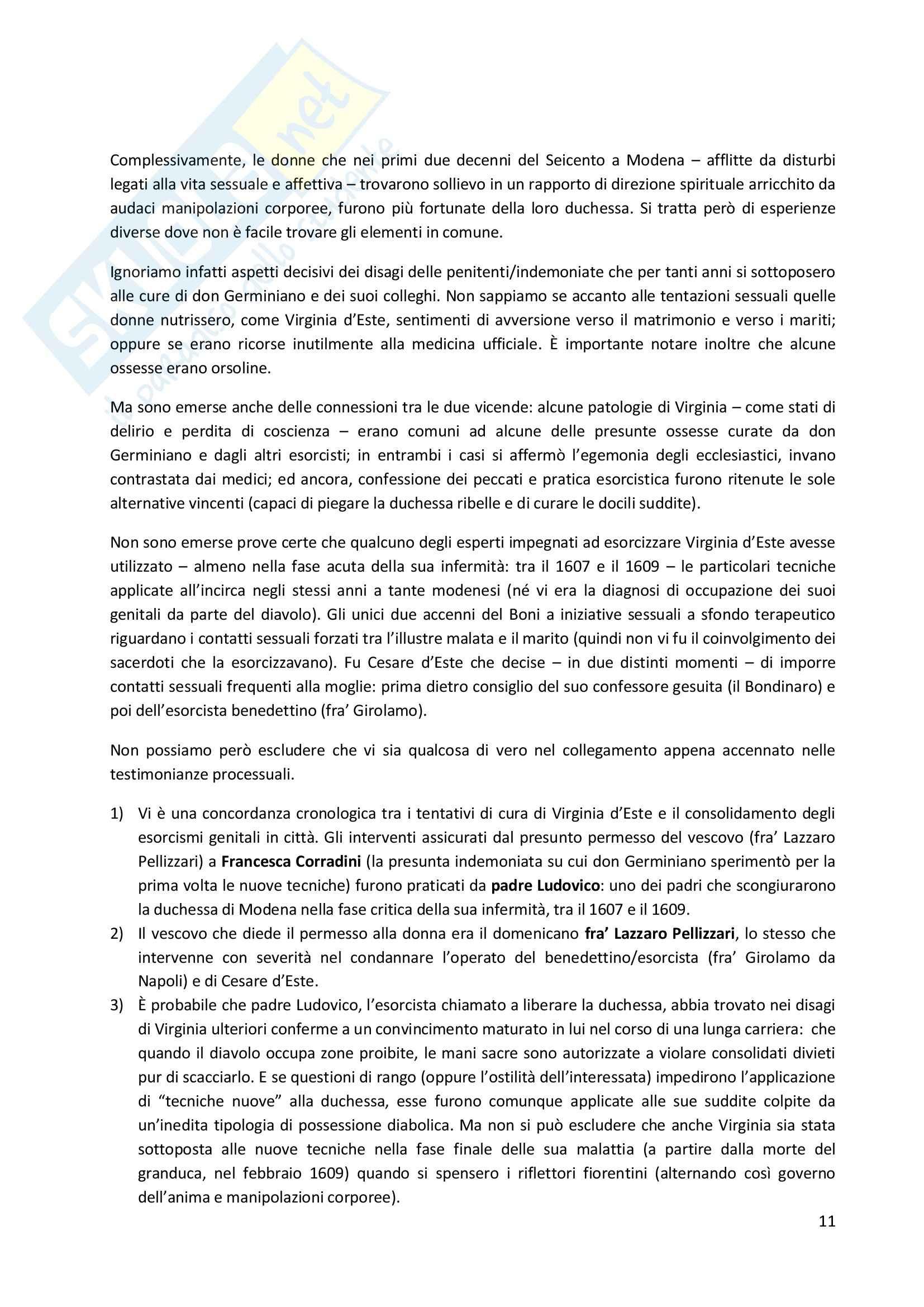 Riassunto esame Storia moderna, prof. Pizzorusso, libro consigliato Esorcisti, confessori e sessualità femminile nell'Italia della Controriforma, Romeo Pag. 11