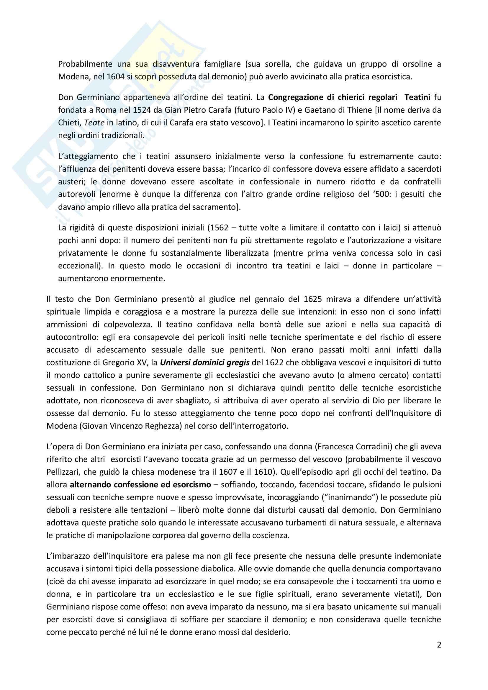 Riassunto esame Storia moderna, prof. Pizzorusso, libro consigliato Esorcisti, confessori e sessualità femminile nell'Italia della Controriforma, Romeo Pag. 2