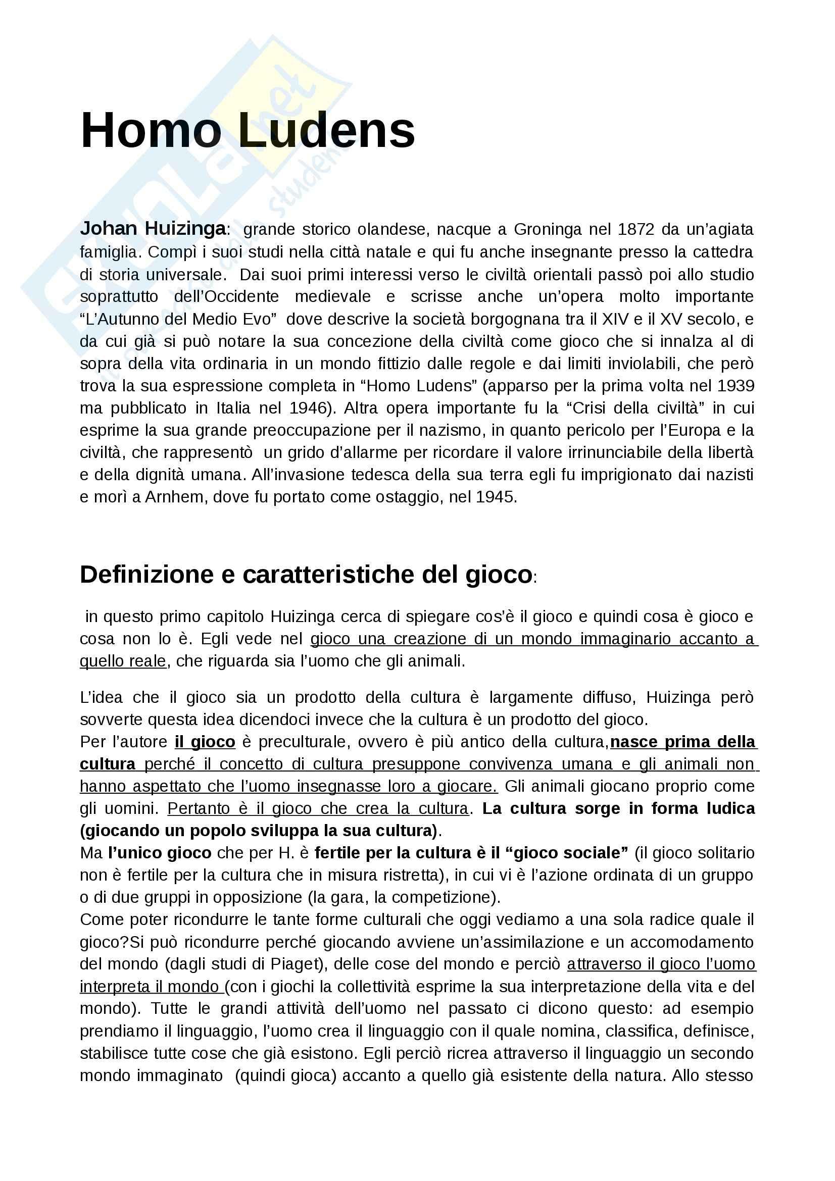 Riassunto esame Ludoteconomia, prof. De Angelis, libro consigliato Homo Ludens, Huizinga