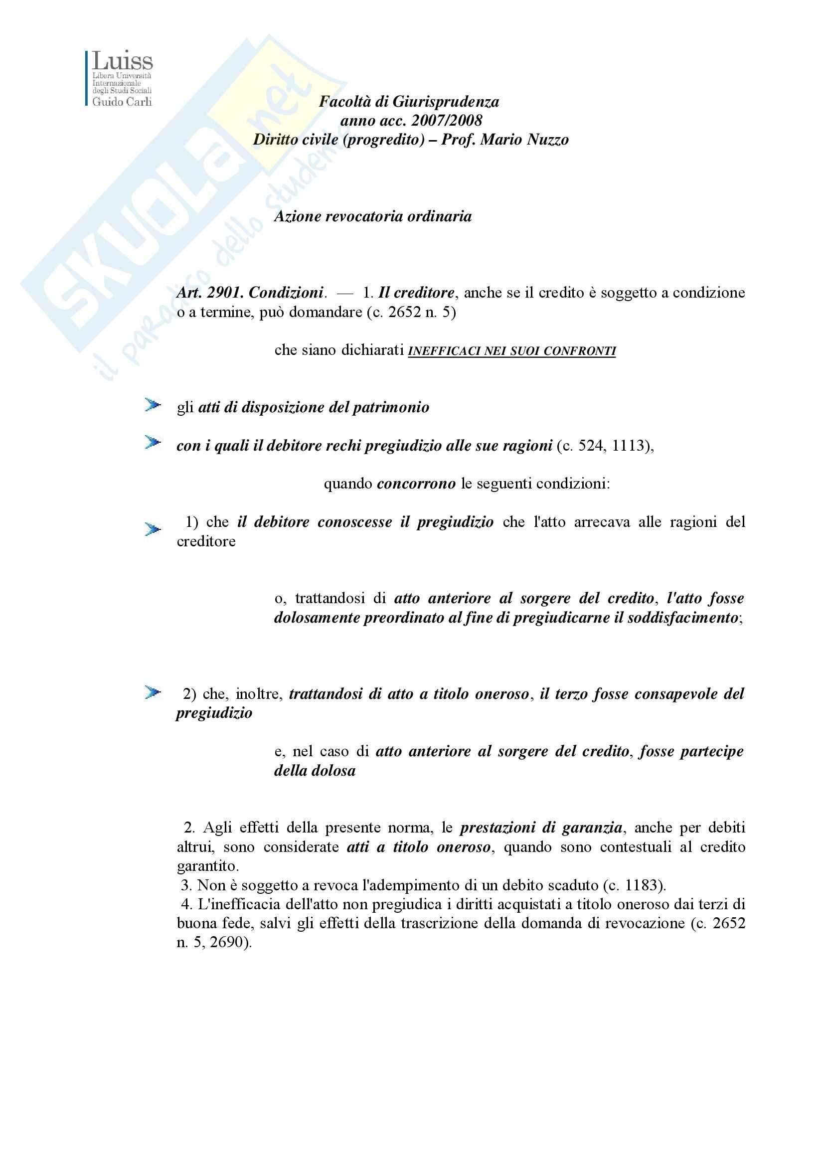 Diritto civile - azione revocatoria