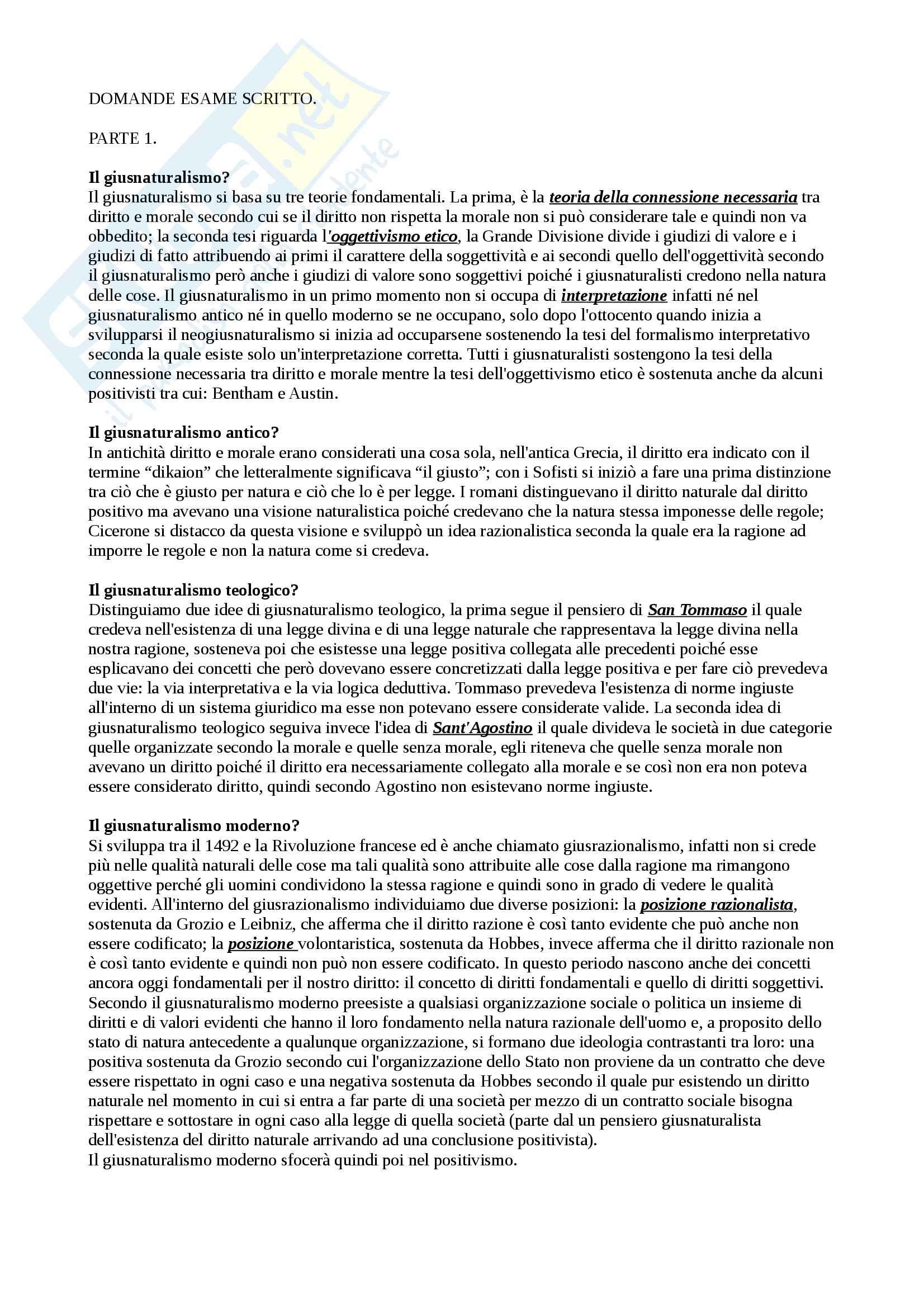 Domande e risposte (appunti) primo compito di filosofia del diritto