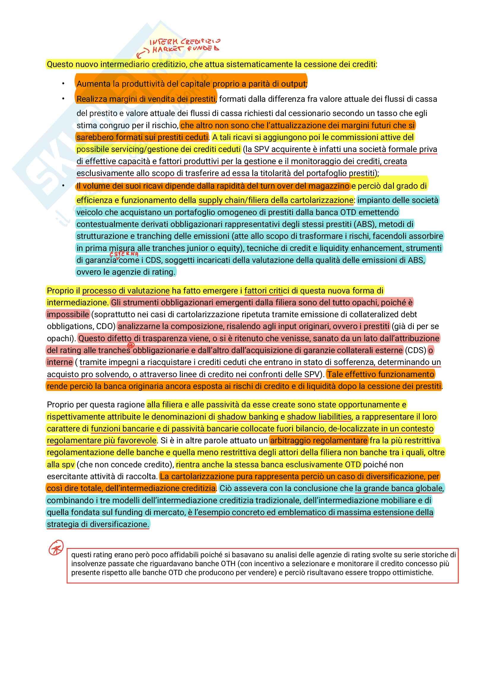 Riassunto materiale per domande aperte esame Organizzazione degli intermediari finanziari, prof. Camelia, libro consigliato Banche Strategie organizzazione e concentrazioni, Mottura Pag. 11