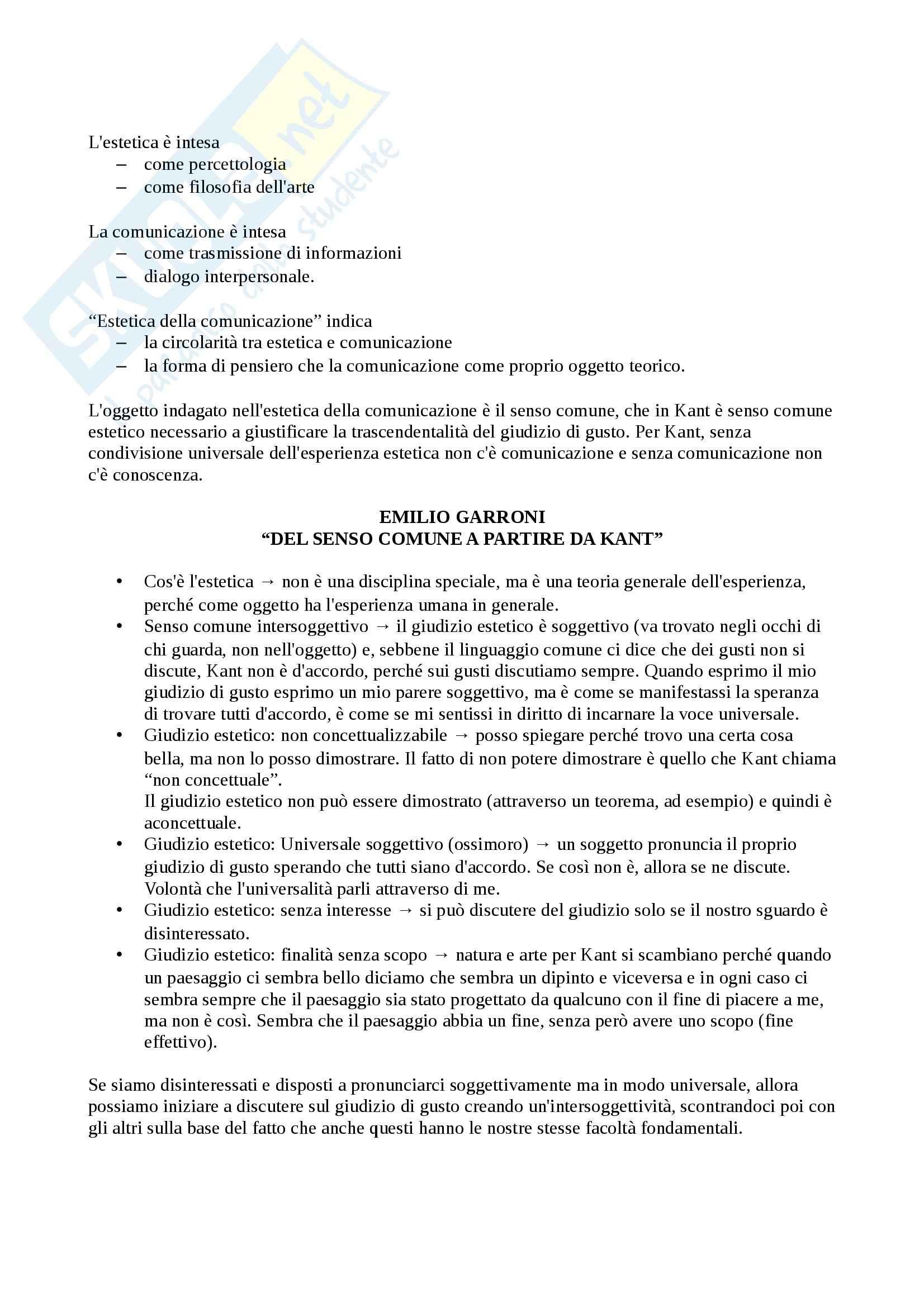 Riassunto esame Estetica, prof. Pinotti, libro consigliato Estetica dei Media e della Comunicazione di Diodato e Somaini