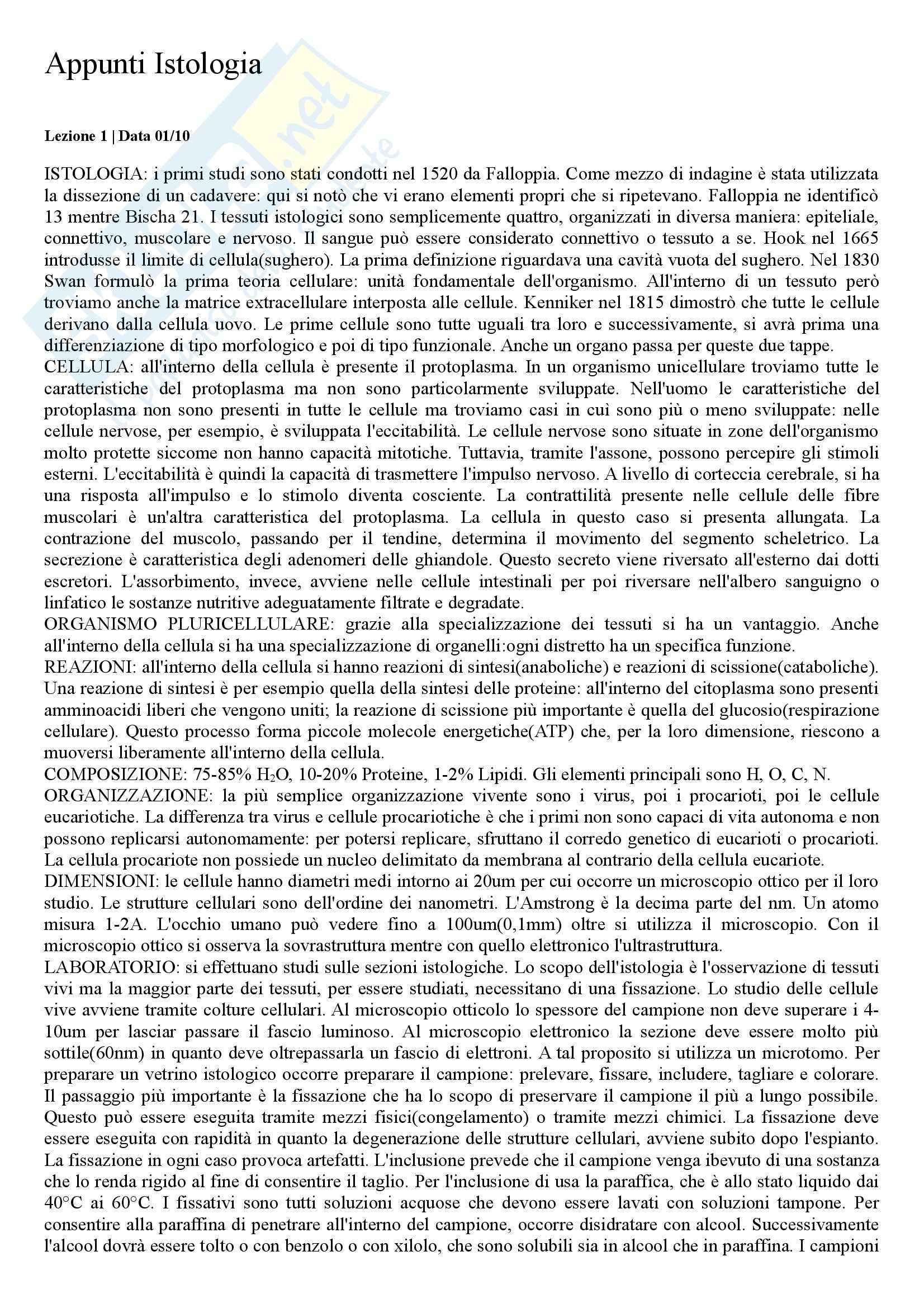 Citologia e Istologia - Appunti