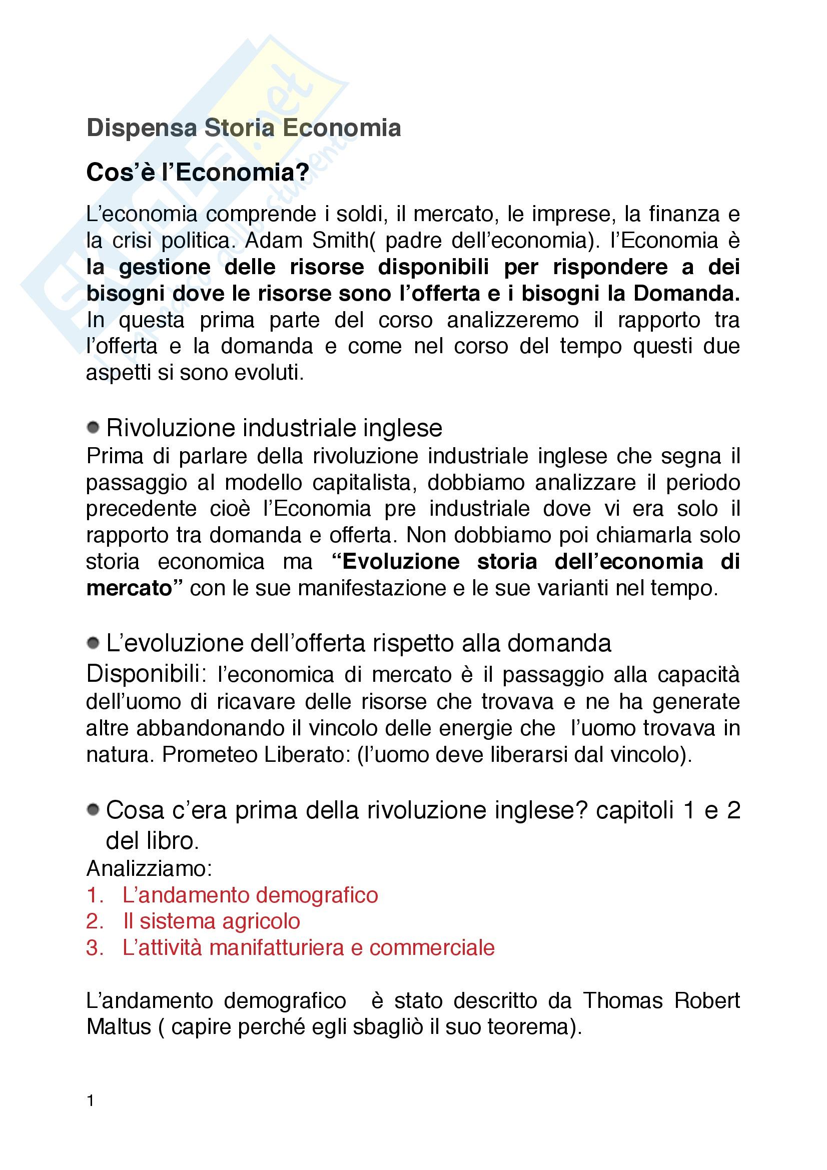 Appunti  Storia Economia Università Cattolica di Milano