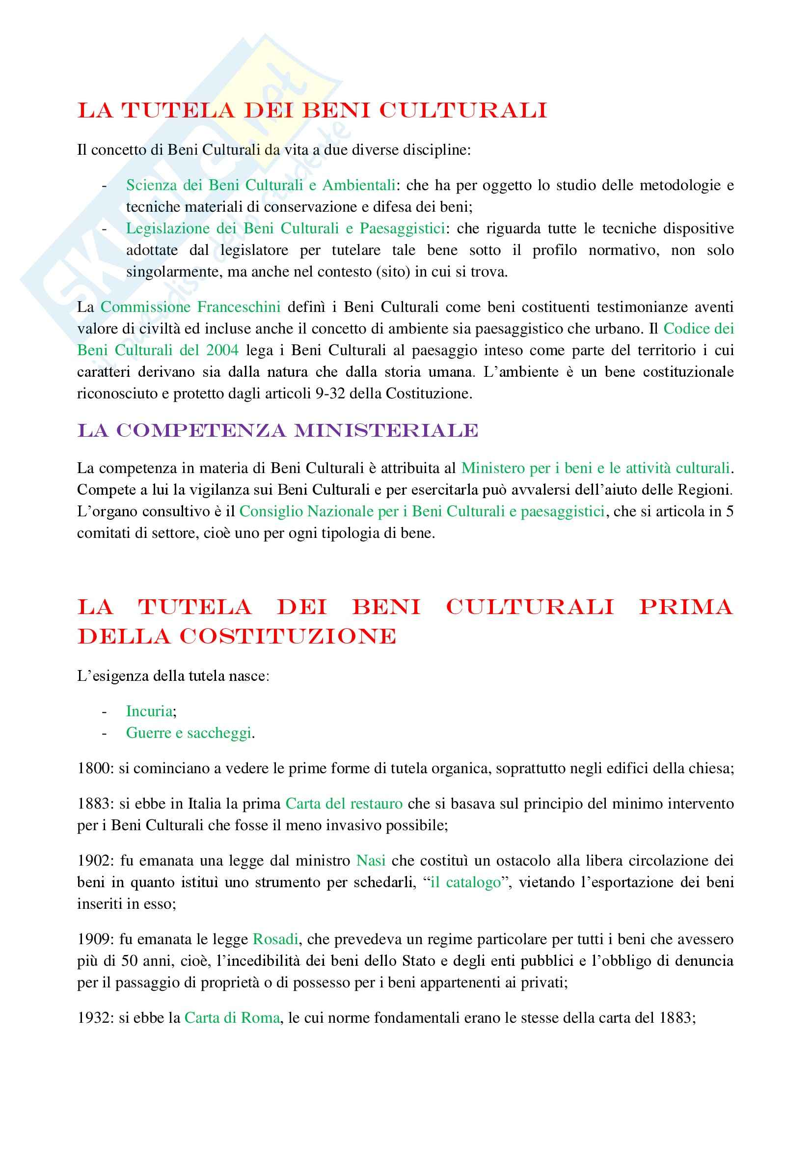Riassunto esame Legislazione dei Beni Culturali, prof. Cortese, libro consigliato Il Patrimonio Culturale: Profili Normativi